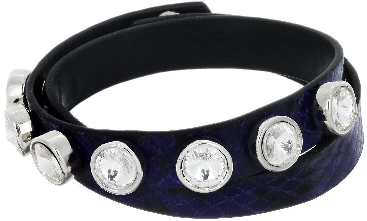 Браслет Taya, цвет: темно-синий, черный. T-B-7431Глидерный браслетСтильный женский браслет Taya изготовлен из искусственной кожи с тиснением. Изделие дополнено декоративными металлическими элементами, оформленными стразами. Браслет застегивается на кнопки. Длина изделия позволяет обернуть его несколько раз вокруг руки.Это необычное украшение отлично разбавит ваш повседневный образ, добавит в него изюминку. С помощью него вы сможете подчеркнуть свою индивидуальность и выделиться среди окружающих.