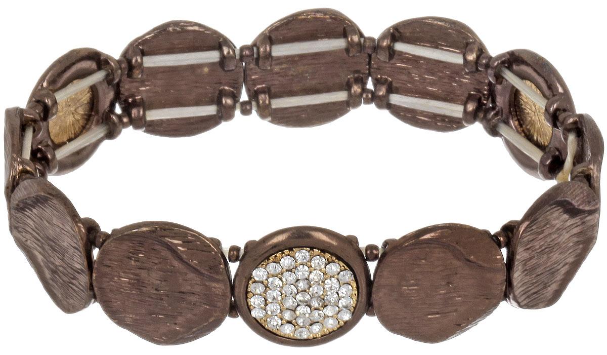 Браслет Taya, цвет: коричневый. T-B-4478Глидерный браслетОригинальный браслет Taya выполнен из металлического сплава и дополнен стразами. Элементы браслета соединены между собой при помощи тонкой резинки, благодаря которой изделие имеет универсальный размер. Его легко снимать и одевать.Такой браслет внесет изюминку в любой образ и подчеркнет индивидуальность.
