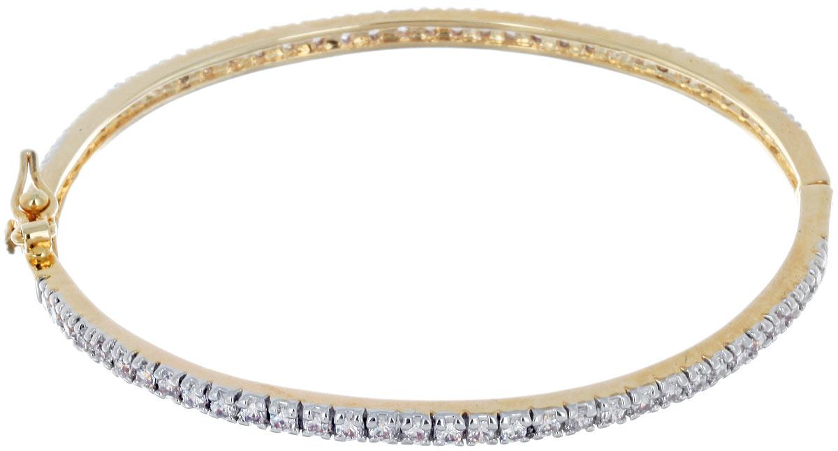 Браслет Taya, цвет: золотистый. T-B-3952Глидерный браслетИзящный тонкий браслет Taya выполнен из металлического сплава с гальваническим покрытием на основе латуни и дополнен россыпью прозрачных цирконов. Застегивается браслет на защелку и дополнительно на металлическую петельку. За счет удобной застежки и качественного исполнения, браслет полюбится любой леди и станет ежедневным любимым аксессуаром.