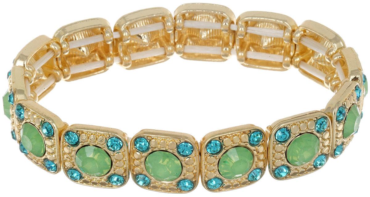 Браслет Taya, цвет: золотистый, зеленый. T-B-6983Глидерный браслетШикарный женский браслет Taya выполнен из металлического сплава золотистого цвета. Модель дополнена стразами. Элементы браслета соединены между собой при помощи эластичной резинки, которая позволит идеально зафиксировать модель на руке. Это стильное украшение элегантно завершит модный образ и подчеркнет ваш утонченный вкус.