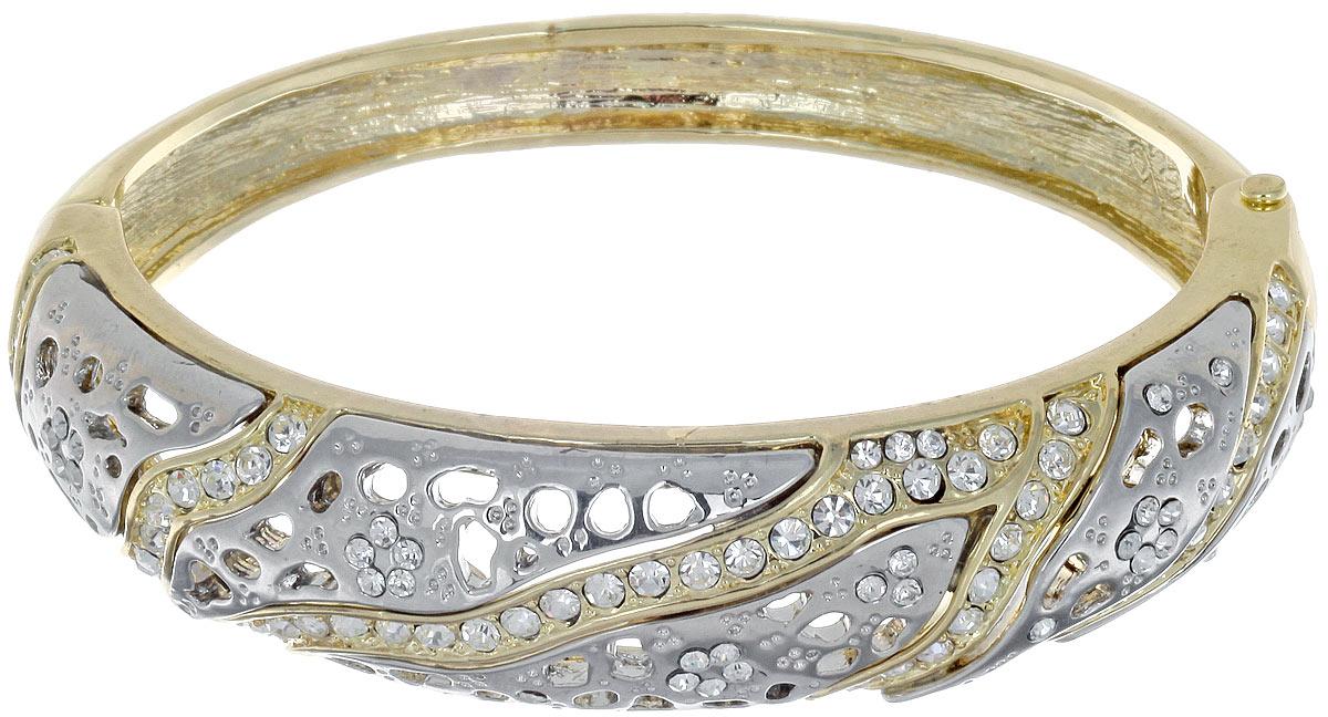 Браслет Taya, цвет: золотистый, серебристый. T-B-7108Браслет с подвескамиСтильный женский браслет Taya выполнен из металлического сплава. Изделие оформлено перфорацией и россыпью страз. Застегивается изделие на шарнирный замок. Оригинальный дизайн браслета понравиться тем, кто хочет быть в центре внимания.Красивый и необычный браслет блестяще подчеркнет ваш изысканный вкус и поможет внести разнообразие в привычный образ.