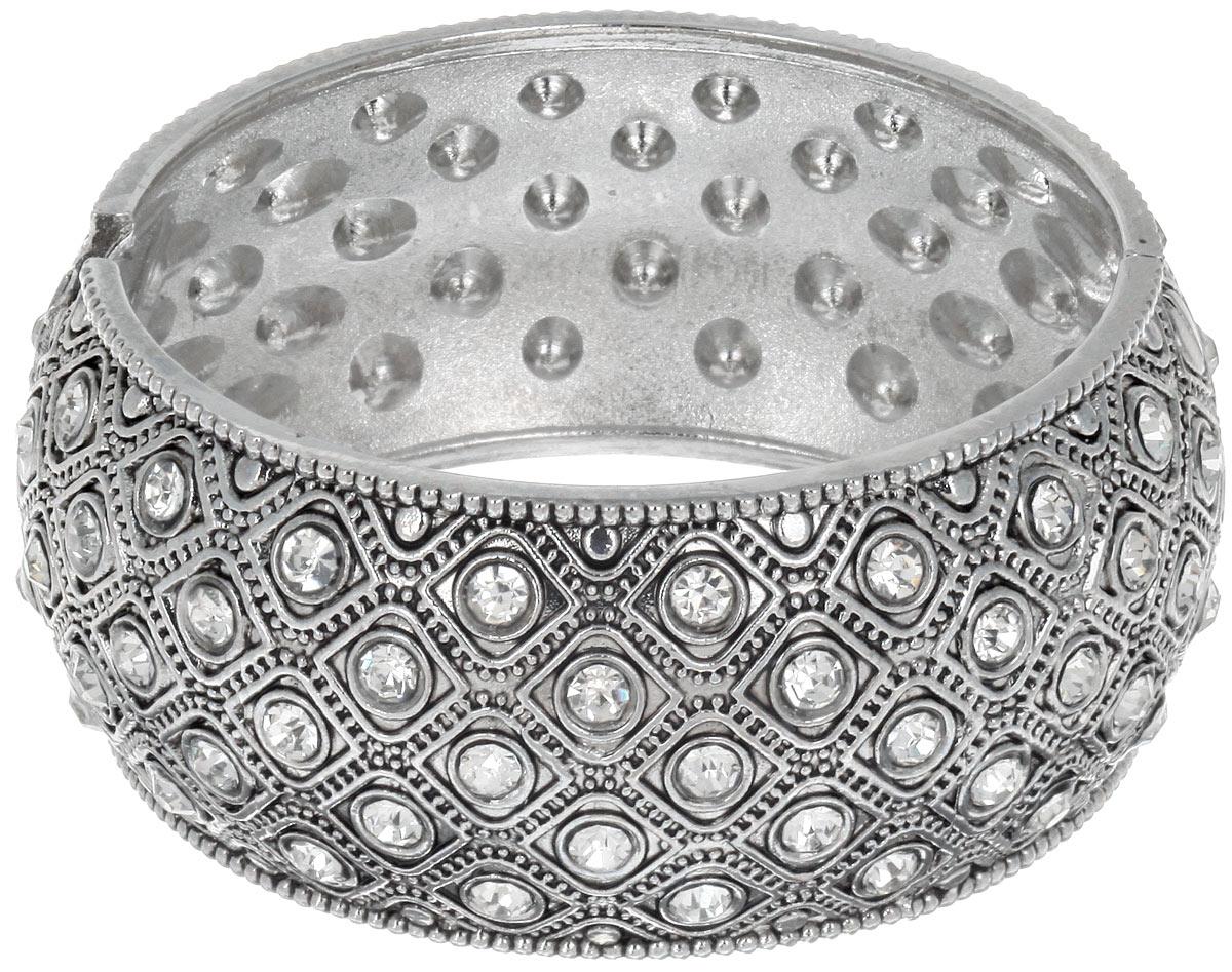 Браслет Taya, цвет: серебристый. T-B-7074Глидерный браслетСтильный женский браслет Taya, выполненный из металлического сплава, дополнен стразами и рельефным орнаментом. Застегивается изделие на шарнирный замок. Оригинальный дизайн браслета понравиться тем, кто хочет быть в центре внимания.Красивый и необычный браслет блестяще подчеркнет ваш изысканный вкус и поможет внести разнообразие в привычный образ.