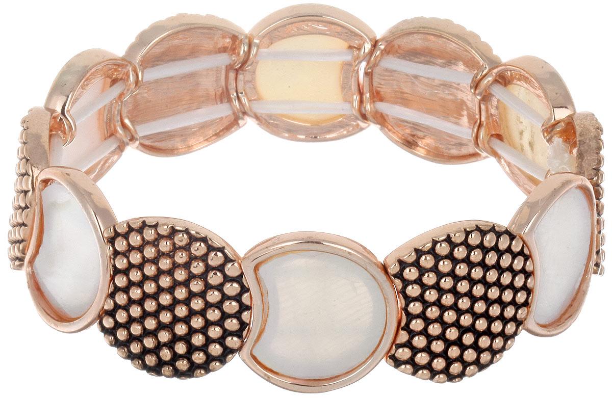 Браслет Taya, цвет: золотистый, белый. T-B-6366Глидерный браслетСтильный женский браслет Taya придется по вкусу любой моднице. Натуральный перламутр в сочетании с искусно выгравированным золотистым металлическим сплавом придают этому украшению необычную стилистику на грани классики и модерна. Элементы браслета соединены с помощью тонкой резинки, благодаря которой изделие легко снимается и надевается. Размер универсальный.Такой браслет дополнит повседневный и праздничный образ, подчеркнув достоинства женской ручки.