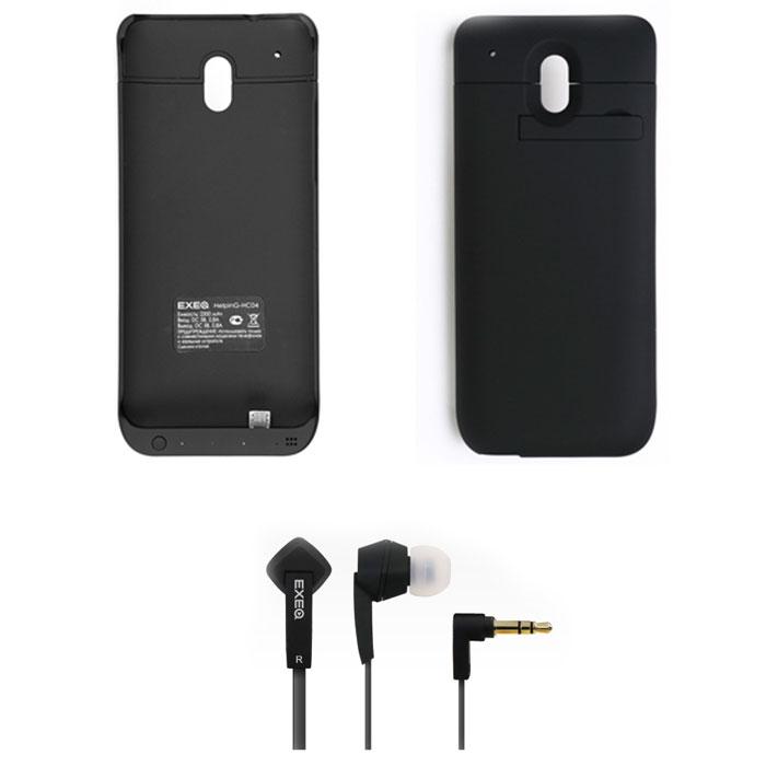 EXEQ HelpinG-HC04 чехол-аккумулятор для HTC One Mini, Black (2300 мАч, клип-кейс) + наушники HPC-002 телефон htc one mini stealth black украина дешего