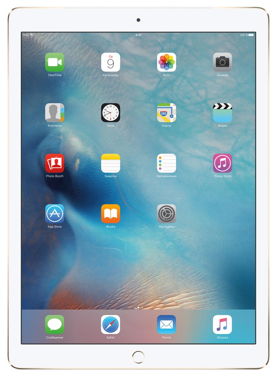Apple iPad Pro Wi-Fi + Cellular 128GB, GoldML2K2RU/AС Apple iPad Pro мир ваших увлечений станет ещё обширнее. Он оснащён потрясающим 12,9-дюймовым дисплеем Retina и улучшенной технологией Multi-Touch, а его производительность почти в два раза превосходит iPad Air 2. Новый iPad Pro не просто больше — с ним вы получите возможность работать и творить в совершенно иных масштабах.Дисплей Retina с диагональю 12,9 на iPad Pro — самый совершенный из всех. Он на 78% больше, чем у iPad Air 2, а под его стеклом уместились обновлённая подсистема Multi-Touch и самое высокое разрешение среди всех устройств iOS — 5,6 миллиона пикселей. Его потрясающая чёткость и впечатляющие цвета, включая насыщенный чёрный, делают любое занятие, от обработки фотографий до игр со сложной графикой, невероятно увлекательным.В корпус данной модели встроено четыре передовых динамика, которые обеспечивают живой и объёмный звук. И впервые отсеки для них вырезаны прямо в корпусе unibody. Благодаря новой архитектуре динамики получили на 61% больше места, что расширило диапазон частот и втрое повысило их мощность по сравнению с предыдущими моделями iPad.Динамики в iPad Pro — это не только качественный звук, но и умная технология. Все они воспроизводят звук низких частот, а верхние — ещё и высоких. Кроме того, динамики автоматически распознают вертикальное или горизонтальное положение устройства. Как ни крути, iPad Pro всегда гарантирует живое и сбалансированное звучание.Smart Connector — новый элемент интерфейса, который использует проводящий материал Smart Keyboard для передачи сигнала в обоих направлениях. Он обеспечивает питание клавиатуры Smart Keyboard (продается отдельно) от iPad Pro и передаёт импульс от клавиш обратно на iPad Pro. Пользоваться разъёмом Smart Connector проще простого. Вставьте iPad Pro в Smart Keyboard — так же, как в чехол Smart Cover — и начинайте работать.Производительность процессора A9X в 1,8 раза выше, чем у iPad Air 2, а скорость его работы и отклика просто поражает. iPad Pro