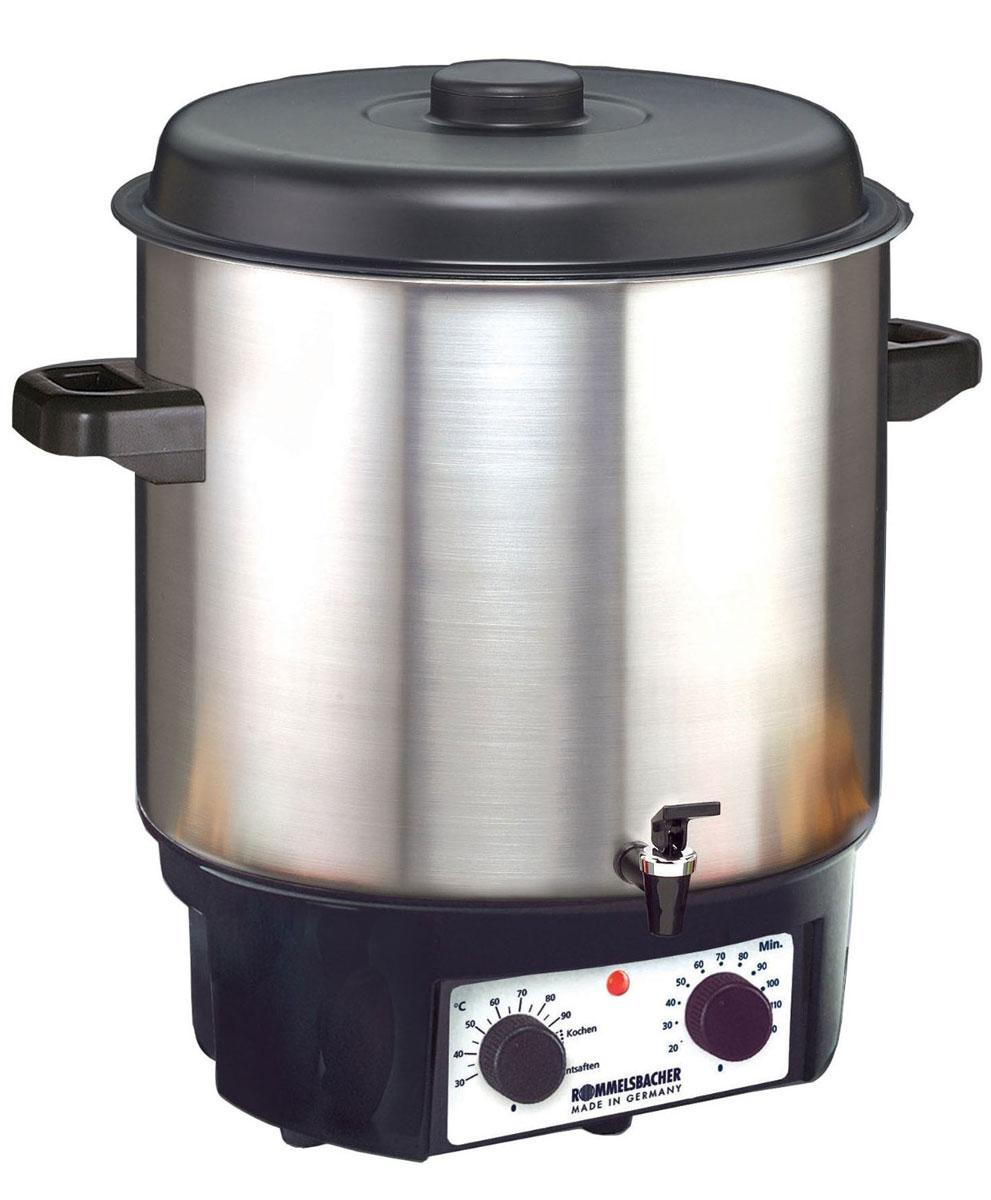 Rommelsbacher KA 2004/E глинтвейн мейкерKA 2004/EГлинтвейн-мейкер Rommelsbacher KA 2004/E позволяет в течение всего года наслаждаться плодами лета. Фруктовые соки, глинтвейн и варенье приготавливаются легко, просто и удобно. Также прибор прекрасно поддерживает горячую температуру напитков. Rommelsbacher KA 2004/E можно использовать для стерилизации банок, а благодаря удобному крану можно наливать горячий глинтвейн, пунш и другие напитки.Контрольная лампа нагреваВстроенный термостатТаймер: 120 мин