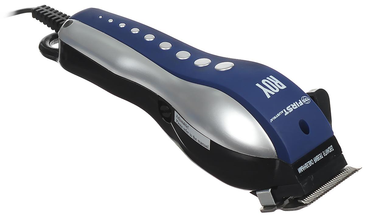 First FA-5679-1, Blue Silver набор для стрижкиFA-5679-1Dark blue/silverFirst FA-5679-1 - надежная и недорогая машинка для стрижки с мощным двигателем и лезвиями из нержавеющей стали. Для разной длины волос предусмотрены 4 насадки. Эргономичная форма корпуса, петля для подвешивания и комплект аксессуаров обеспечат ощутимый комфорт при использовании машинки.