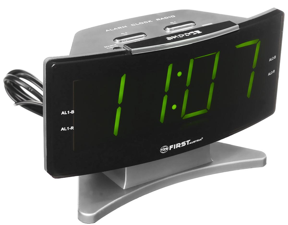 First FA-2416, Silver радиочасыFA-2416 SilverFirst FA-2416 - радиочасы с LED-дисплеем диагональю 1,8 дюйма. Устройство имеет кварцевый стабилизатор, а также различные дополнительные функции: подъем под музыку или звонок, засыпание под музыку, двойной будильник, а также сохранение радиостанций в памяти. Вы также можете активировать отложенный сигнал чтобы поспать еще немного времени. Будильник отключится и прозвенит через 9 минут.Фазовая автоподстройка частотыРезервное питание: 2 батарейки UM4 (в комплект не входят)