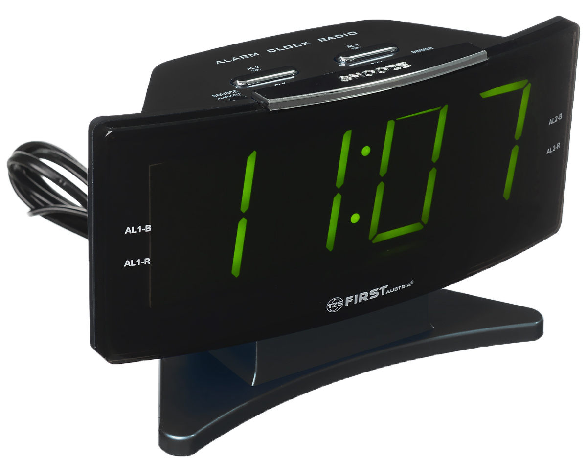 First FA-2416, Grey радиочасыFA-2416 MT.GreyFirst FA-2416 - радиочасы с большим ЖК-дисплеем часов. С управлением яркостью/затуханием. Радиочасы имеют различные дополнительные функции: подъем под музыку или звонок, засыпание под музыку, двойной будильник, а также сохранение радиостанций в памяти. Вы также можете активировать отложенный сигнал чтобы поспать еще немного времени. Будильник отключится и прозвенит через 9 минут.Фазовая автоподстройка частотыРезервное питание: 2 батарейки UM4 (в комплект не входят)