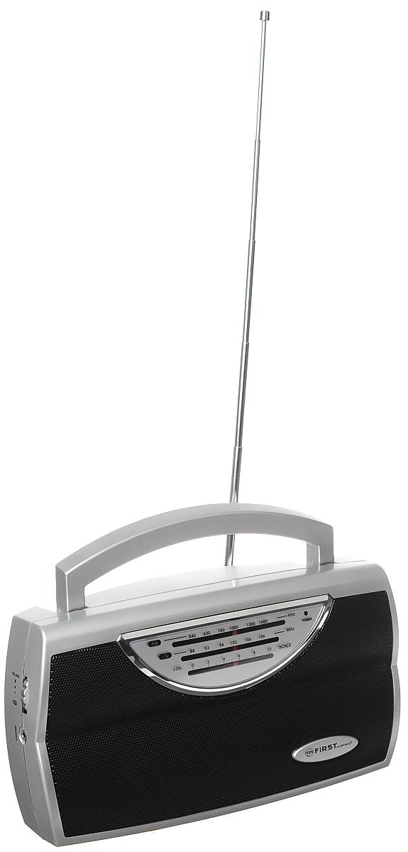 First FA-1904, Silver радиоприемникFA-1904 SilverFirst FA-1904 - компактный и стильный радиоприемник с поддержкой диапазонов AM и FM. Приемник обладает удобной ручкой для переноски и телескопической антенной. Для подключения дополнительных аудио-устройств имеются линейный аудиовход и разъем для наушников. Питание осуществляется как от сети, так и от 3 батареек типа UM1 (не входят в комплект).Выходная мощность: 0,75 ВтСопротивление: 8 Ом