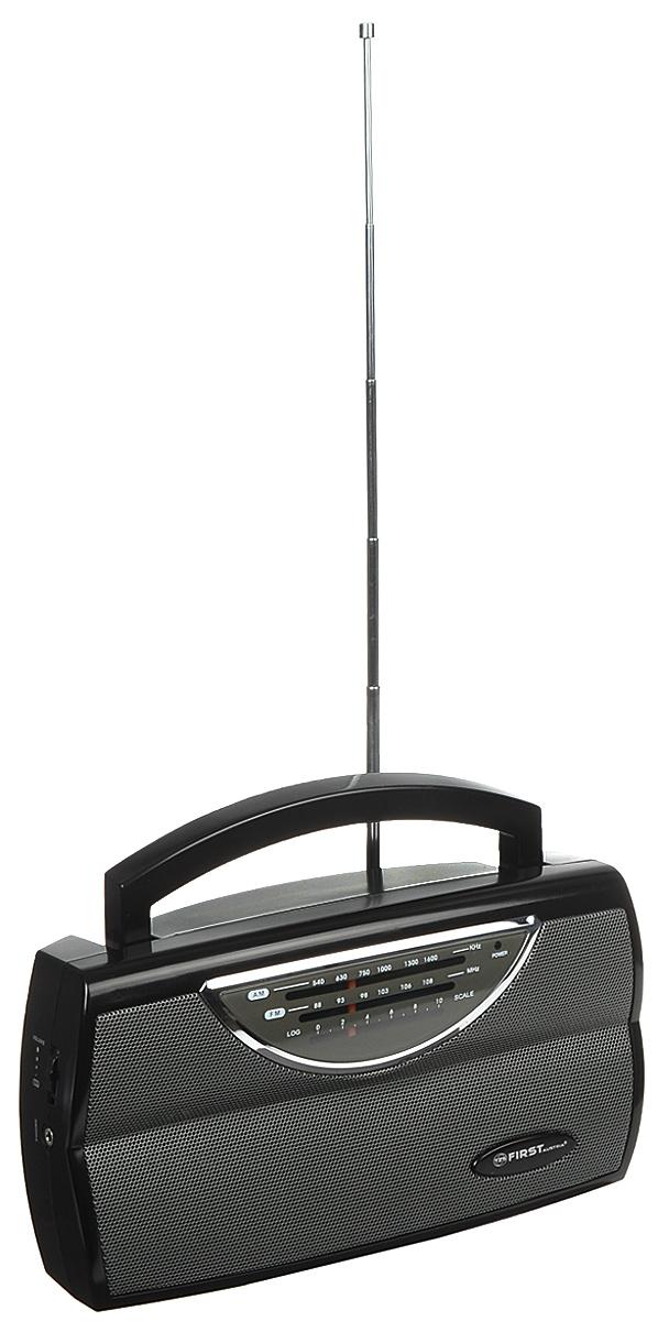 First FA-1904, Black радиоприемникFA-1904 BlackFirst FA-1904 - компактный и стильный радиоприемник с поддержкой диапазонов AM и FM. Приемник обладает удобной ручкой для переноски и телескопической антенной. Для подключения дополнительных аудио-устройств имеются линейный аудиовход и разъем для наушников. Питание осуществляется как от сети, так и от 3 батареек типа UM1 (не входят в комплект).Выходная мощность: 0,75 ВтСопротивление: 8 Ом