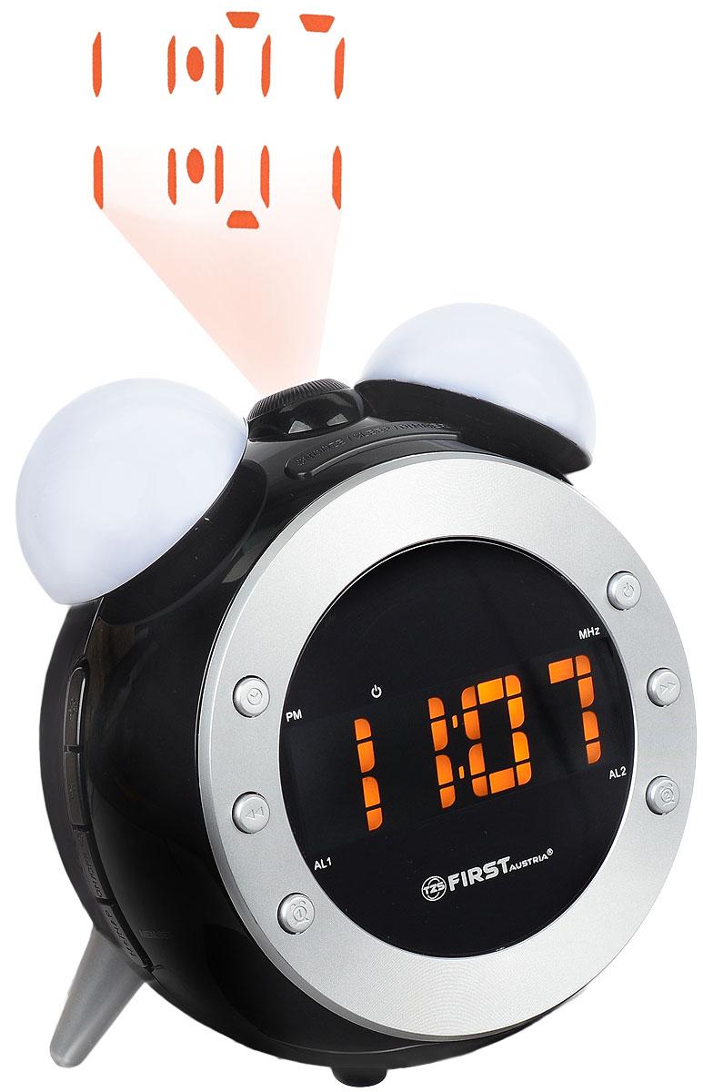 First FA-2421-4, Black радиочасы c проекторомFA-2421-4 BlackFirst FA-2421-4 - радиочасы с проектором и LED-дисплеем диагональю 0,8 дюйма. Устройство имеет кварцевый стабилизатор, а также различные дополнительные функции: календарь, контроль температуры, подъем под музыку или звонок. Встроенный проектор с настройкой фокуса может вращаться на 180°. Два будильника - еще одна полезная функция данной модели, которую можно отключать на выходные дни. Вы также можете активировать отложенный сигнал чтобы поспать еще немного времени. Будильник отключится и прозвенит через 9 минут.Фазовая автоподстройка частотыТаймер отключения 90 минутНочной светильник с контролем яркости/темнотыРезервное питание: 1 батарейка CR2032 (в комплект не входит)