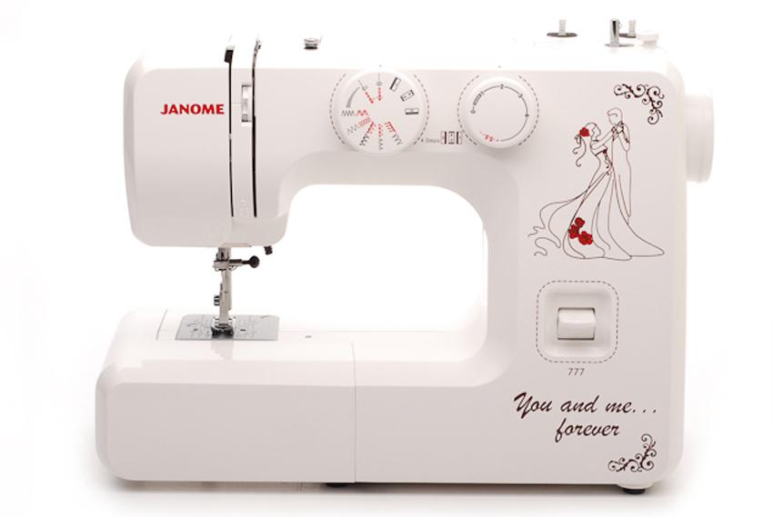 Janome 777 швейная машина4933621704230Универсальная швейная машина Janome 777 работает со всеми видами тканей, в том числе джинса и кожа, трикотаж. Модель рассчитана на интенсивный режим эксплуатации. Имеет металлическую раму и металлический челночный механизм.свободный рукав регулировка скорости с помощью реостатной педали накладка на игольную пластину для вышивки и штопки шитье двойной иглой (приобретается отдельно) Выполняет рабочие операции: прямая, зигзаг, эластичные строчки для трикотажных тканей, отделка фестоном, оверлочная строчка, потайная подшивка низа, штопка, вышивка и т.п.