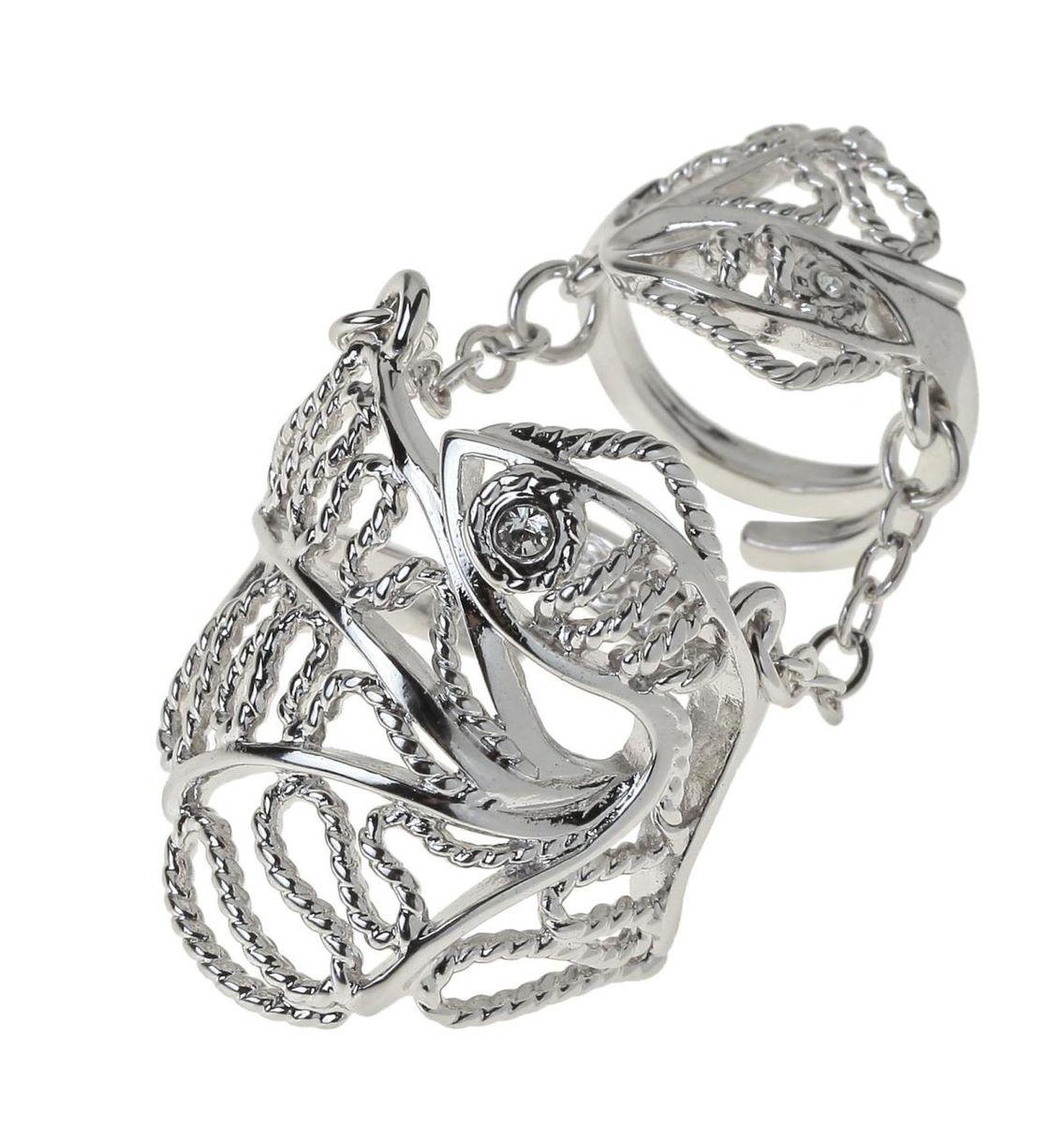 Кольцо Jenavi Вежер, цвет: серебряный, белый. r768f000Коктейльное кольцоСтильное кольцо Jenavi Вежер выполнено из ювелирного сплава и оформлено ажурными переплетениями в виде рыбки, глазик которой дополнен кристаллом Swarovski.Кольцо надевается на две фаланги и имеет универсальный размер.Оригинальное кольцо Jenavi превосходно дополнит ваш образ и подчеркнет отменное чувство стиля своей обладательницы.