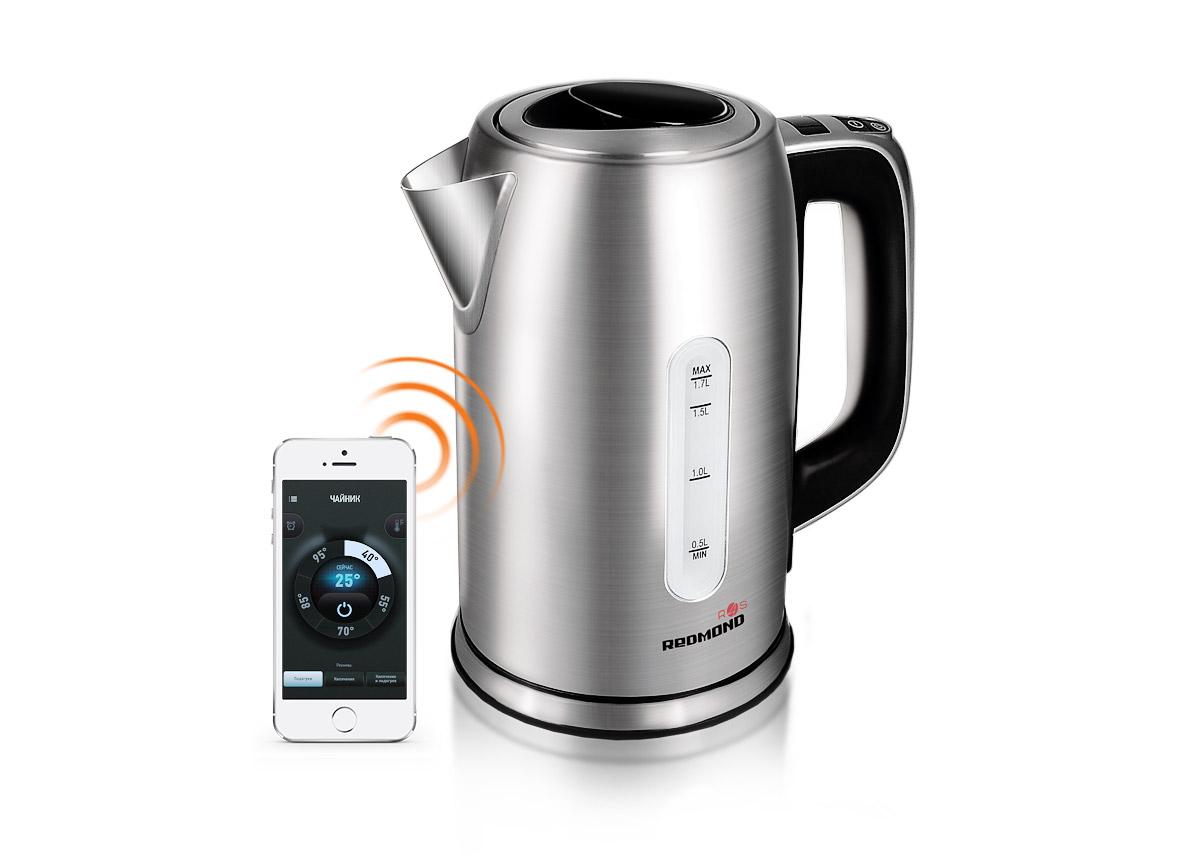 Redmond SkyKettle RK-M171S, Metallic умный электрический чайникRK-M171SЭлектрический чайник Redmond SkyKettle RK-M171S – новая оригинальная модель с обширным функционалом и удобным дистанционным управлением. Благодаря инновационной технологии Ready for Sky управлять умным чайником можно из любой точки мира со смартфона или планшета. Мобильное приложение позволяет вскипятить воду на расстоянии – одним касанием к экрану смартфона.Через мобильное приложение R4S можно выбрать желаемое время подогрева воды и установить идеальную температуру для заварки любимого сорта чая, приготовления детского питания и создания авторских напитков – для этого здесь предусмотрено 13 режимов!Redmond SkyKettle RK-M171S имеет ряд крайне важных функций, в частности это автоотключение при закипании, при отсутствии воды и при снятии чайника с подставки. Ненагревающаяся ручка, термодатчик и съемный фильтр для защиты от накипи – дополнительные преимущества Smart Kettle.Практичная модель представлена в изысканном серебряном оттенке. С точки зрения дизайна серебро идеально подходит для абсолютно разных стилей интерьера, придавая ему особую выразительность и шарм. Стильный дизайн, впечатляющие характеристики и простота в использовании делают Redmond SkyKettle RK-M171S гениальным изобретением на кухне своего продвинутого пользователя!Функция нагрева воды без кипячения (30 - 95°С)Автоматическое поддержание заданной температуры до 12 часов Минимальная поддерживаемая версия Android: 4.3 Jelly BeanМинимальная поддерживаемая версия iOS: 8.0Контактная группа с термодатчиком: StrixВращение на подставке: 360°