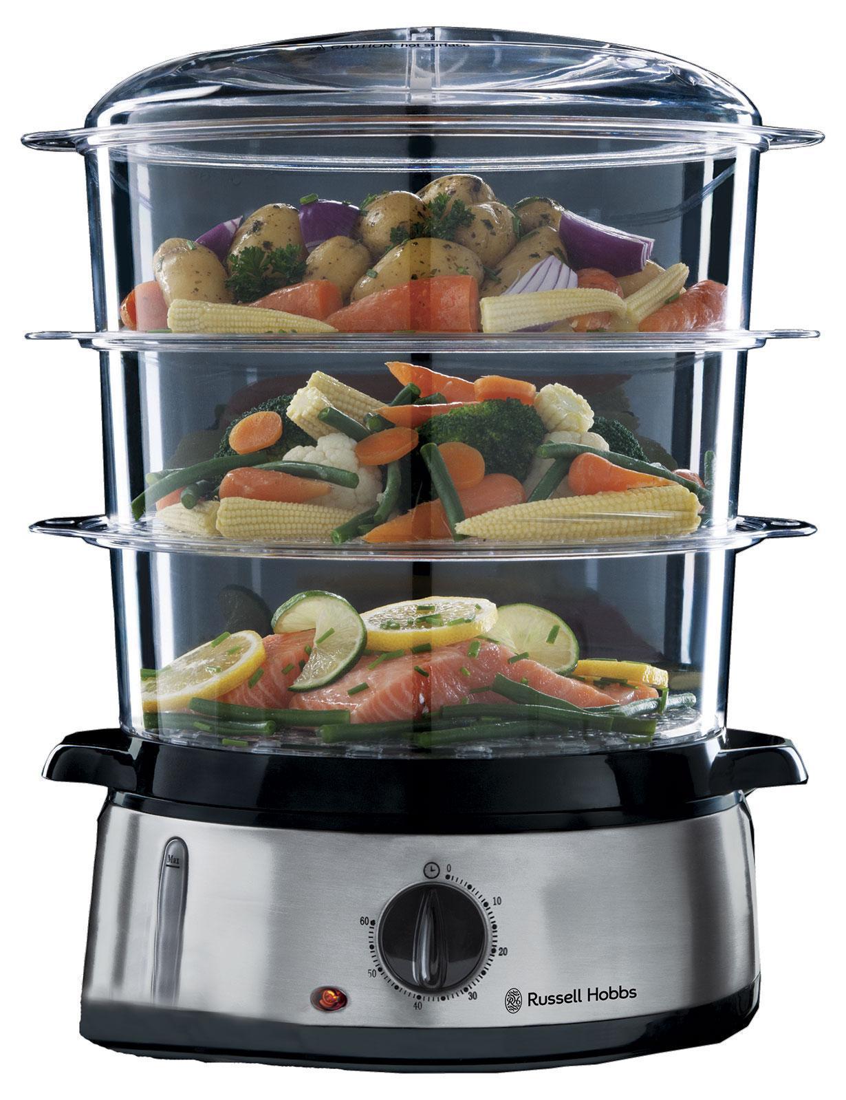 Russell Hobbs 19270-56 пароварка19270-56Эта пароварка позволяет готовить здоровую и полезную пищу, сохраняющую максимум питательных веществ и витаминов. Трехуровневая система позволяет готовить несколько различных видов блюд одновременно, включая рис, овощи и рыбу.