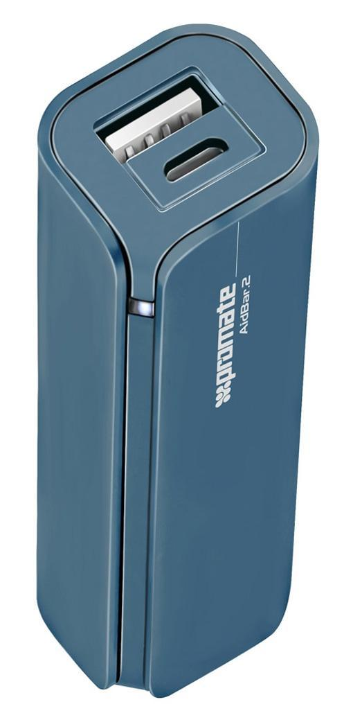 Promate aidBar-2, Blue внешний аккумулятор00007812Больше не переживайте, что у Вас разрядится мобильный телефон, пока Вы в пути. AirBar-2 - портативный аккумулятор для подзарядки емкостью 2500 mAh призван обеспечить Вас дополнительной энергией в любое время, когда Вам это надо. Подходит для использования с любыми мобильными телефонами и гаджетами. Функция автозапуска гарантирует, что прибор выключится и включится при соединении с устройством, которое надо зарядить.