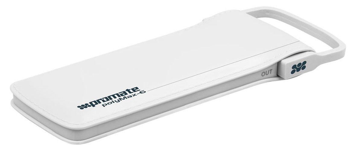 Promate PolyMax-6, White внешний аккумулятор6959144020532Исключительный по техническим характеристикам и внешнему виду портативный аккумулятор Promate PolyMax-6. Отделка под кожу, встроенный кабель с выходом в 2,4 А, ультратонкий дизайн (менее 1,5 см толщины) и реальная заявленная емкость делает его оптимальным выбором для любого пользователя. 2 полноценные зарядки любого сматфона, адекватно высокая скорость зарядки (около 1,5 часа), а также возможность заряжать планшет вкупе со стильным дизайном - все это моментально привлекает внимание к этому действительно уникальному гаджету.