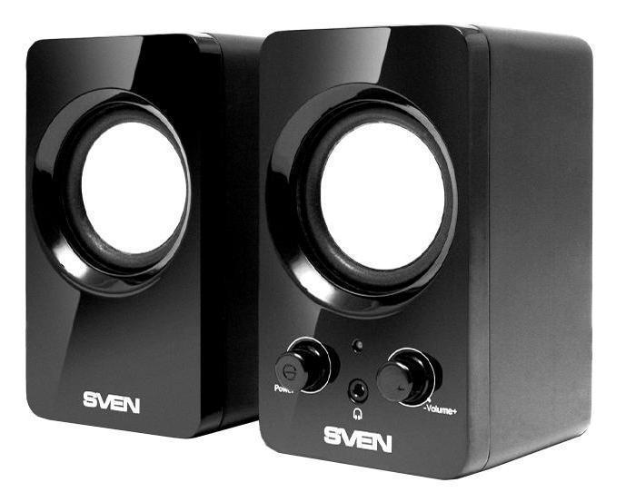 Sven 354, Black акустическая система 2.0SV-0120365BLКомпания SVEN представила акустическую систему 2.0 SVEN 354. Приятный внешний вид, выполненный в духе современных дизайнерских тенденций, радует глаз и обращает на себя внимание. Глянец, отсутствие острых углов, черный цвет, крупный диаметр динамиков – все эти компоненты гармонично дополняют друг друга. На передней панели активной колонки расположены элементы управления (выключатель питания, а также регулятор громкости). Там же расположен разъем для подключения наушников – для комфортного перехода в режим «индивидуального» прослушивания в ситуации, когда в помещении находится несколько человек одновременно. Еще одна «фишка» SVEN 354 – USB-питание. Такое решение позволяет освободить лишнюю розетку рядом с рабочим столом для не менее важных предметов (настольной лампы, принтера, зарядки для планшета или сотового телефона и т. п.) и добавит пользователю мобильности. Колонки вкупе с ноутбуком можно взять с собой за город или на пикник с друзьями. Спонтанная дискотека или кинотеатр под открытым небом Вам обеспечены.