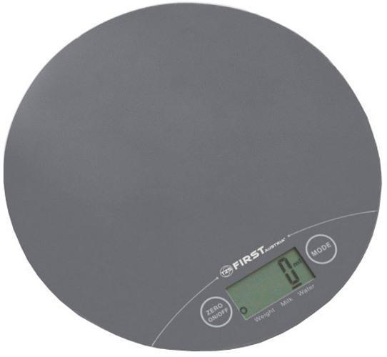 First FA-6400-1, Grey весы кухонныеFA-6400-1 Grey6400-1 Весы кухонные FIRST,электр.5 кг, 1 гр.стекл.3 мм, тарокомпенсация, калькулятор объема,Grey