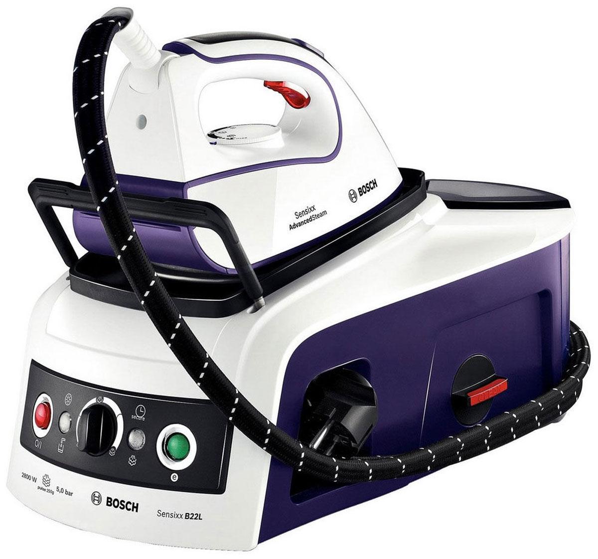 Bosch TDS2241, White Purple гладильная системаTDS2241Паровая станция Bosch TDS2241 мощно оглаживает ваше белье, не оставляя ни одной морщинки, а кроме того, ее очень удобно и безопасно переносить. Мощное давление подачи пара со встроенной системой безопасности составляет 5 бар. Система SecureLock закрепляет утюг на станции для большей надежности при транспортировке и хранении.Ultimate250 PulseSteam: мощный глубокий пар с тремя интенсивными паровыми ударами до 250 грамм служит для оптимального проникновения в ткань. Подошва CeraniumGlissee с каналами для подачи пара и трехфазовым дизайном отверстий создана для оптимального распространения пара и идеального скольжения.Система advanced steam system для быстрой глажкиeco-button: экономия энергии до 25 % и воды до 40 %CalcnClean Advanced: специальная шкала коллектора, которая легко снимается для быстрой и легкой очистки паровой станцииРезиновые ножкиСъемная нескользящая подставка для утюгаСигнализатор рабочего состоянияМощность бойлера: 1 500 ВтМатериал бойлера: нержавеющая стальИндикатор отсутствия водыИндикатор готовности к использованию параСтупенчатая регулировка уровня подачи пара