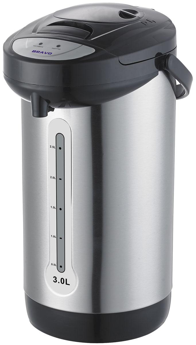 Bravo TL-30SE термопот4627090740232Мощность: 600 ВтОбъем: 3 лПоворот на 360 грВнутренняя емкость: нержавеющая стальПодача воды: механическийПоддержание температурыЗащита от включения без воды Шкала уровня воды