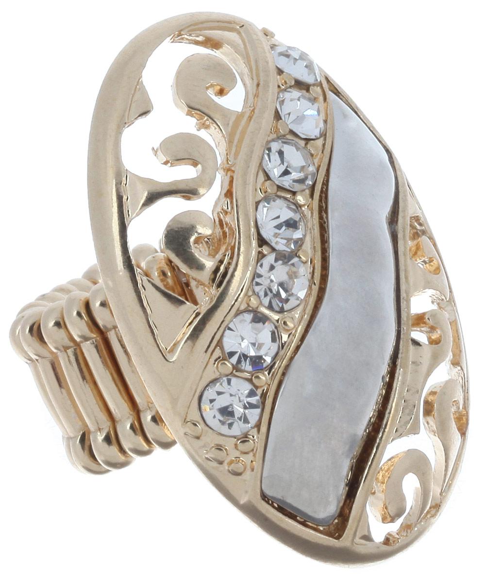 Кольцо Avgad, цвет: золотистый, серебристый. EA178JW308Коктейльное кольцоОригинальное кольцо Avgad, изготовленное из ювелирного сплава, оформлено стразами и перфорированным узором. Элементы кольца соединены между собой при помощи тонкой резинки, благодаря которой изделие имеет универсальный размер. Его легко снимать и надевать. Это необычное украшение внесет изюминку в ваш модный образ, а также позволит выделиться среди окружающих.