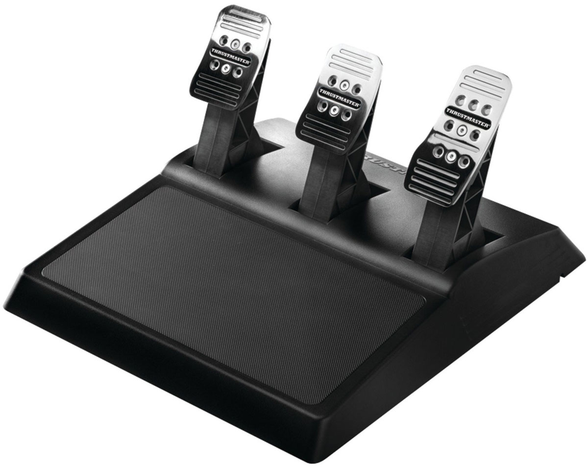 Thrustmaster T3PA 3 Pedals Add On, Black педали4060056Педали и механизм Thrustmaster T3PA 3 Pedals Add On изготовлены из 100% металла и включают в себя 3 металлических педали с металлическим механизмом для максимальной надежности.Полная регулируемость:3 педали с возможностью регулировки расстояний (3 положения)3 педали с возможностью регулировки угла наклона (2 положения)Педаль газа с возможностью регулировки высоты (2 положения)Индивидуальная настройка чувствительности к давлению для педалейПедаль газа — приблизительно 2,5 кгПедаль тормоза — приблизительно 10 кг (без резинового конического тормозного модуля)Педаль тормоза:15—25 кг, в зависимости от предпочтений (с коническим тормозным модулем из резины)Педаль сцепления — приблизительно 5 кгВ комплекте — конический тормозной модуль из резиныСтопор конической формы из высокоплотной резины промышленного классаУстанавливается непосредственно под педаль тормозаРеалистичные ощущения и суперпрогрессивное сопротивление в конце хода педалиРегулируемое положение (и, следовательно, сопротивление)Большая ширина и идеальная устойчивостьШирокий текстурированный упор для ногиУтяжеленный педальный блокИдеальная устойчивость.Предусмотрены резьбовые отверстия для установки на кокпите. Продукт входит в серию рулевых систем TX, совместима также с Ferrari 458 Spider Racing Wheel.Совместимы с все гоночные рули Thrustmaster T-SeriesT300 T500TX Racing WheelFerrari 458 Spider Racing WheelT150