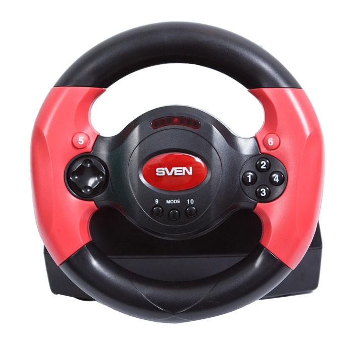 Sven Speedy рульSV-063001Модель Sven Speedy рассчитана, в первую очередь, на подростковую аудиторию, поэтому, если вы ищете подарок для своего ребенка, внимательнее присмотритесь к данной модели.Разработчики предусмотрели в Sven Speedy все нюансы для того, чтобы эффект участия в гонках был максимально реалистичным. Функция виброотдачи позволяет прочувствовать неровности дорожного покрытия, крутые повороты, резкие заносы и виражи. В комплекте присутствует блок педалей, дающий возможность регулировать скорость движения транспортного средства, как в настоящем автомобиле. Для удобства газ и тормоз представлены также в виде лепестков-переключателей, расположенных на тыльной стороне руля. Используя их, играющий способен управлять автомобилем только руками. Чтобы уверенно чувствовать себя на дороге, Sven Speedy можно зафиксировать на столе с помощью присосок, которые находятся на его основании. Резиновые вставки на ободе обеспечивают пользователю надежный контакт с манипулятором во время вождения. В модели предусмотрена возможность регулировать уровень вибрации, чувствительность руля и педалей.Восьмипозиционная крестовина и десять программируемых клавиш, присутствующие на лицевой и тыльной стороне руля, являются прекрасным дополнением к основному управлению автомобилем. D-pad больше подходит для входа в меню, смены видов камеры во время игры. С помощью кнопок удобно включать дворники и фары при изменении погодных условий во время гонки, использовать ручник, включать ускорение.Модель поддерживает работу в цифровом и аналоговом режимах. В первом случае управление является статичным, так как компьютер обрабатывает информацию от манипулятора о факте поворота руля и нажатии на педали. В аналоговом режиме обрабатываются также данные об угле поворота и степени нажатия, поэтому управление оказывается более плавным.Диаметр: 22,5 см