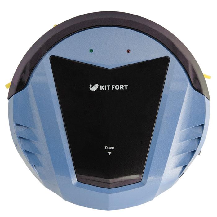 Kitfort KT-511-2, Black Blue робот-пылесосKT-511-2 чёрно-голубойМодель Kitfort КТ-511 создана для непритязательных пользователей, которым нужен простой и недорогой робот-пылесос, без лишних наворотов, который будет каждый день убираться в квартире и делать это качественно. Например, кому-то не нужен ограничитель действия виртуальная стена, идущий в комплекте с большинством пылесосов; многие не пользуются функцией уборки по графику, потому что гораздо удобнее вручную запустить пылесос в соседней комнате, чтобы он не мешал, или же перед уходом на работу. Ради удовлетворения такой потребности был создан робот-пылесос Kitfort KT-511. Он не имеет в комплекте базы для автоподзарядки, ограничителя виртуальная стена и пульта дистанционного управления. В комплекте идет лишь зарядное устройство и инструкция по использованию. У пылесоса нет дисплея и никаких кнопок. Благодаря этому пылесос прост в управлении и стоит недорого. Тем не менее, он обладает приятными особенностями, на которых стоит остановиться подробнее.Робот-пылесос Kitfort КТ-511 входит в семейство роботов-пылесосов без турбощетки. В классических моделях роботов-пылесосов турбощетка играет основную роль в уборке мусора, а блок мини-пылесоса имеет небольшую мощность и всасывает только мелкую пыль. Но на турбощетку в процессе уборки хорошо наматываются волосы, нитки и шерсть домашних животных, так что она требует регулярной и кропотливой очистки с помощью специальных инструментов, в противном случае эффективность уборки резко падает.В модели Kitfort КТ-511 турбощетка отсутствует вовсе, что упрощает обслуживание пылесоса, а сам пылесос обладает большой мощностью всасывания. Всасывающий раструб имеет увеличенные размеры и специальную форму для лучшего всасывания. Пылесос оснащен двумя боковыми щетками, а не одной, как у классических моделей, что увеличивает скорость и качество уборки. Ворс боковых щеток выступает за габариты пылесоса, что позволяет ему собирать пыль вдоль плинтусов, вдоль диванов, около дверных косяк