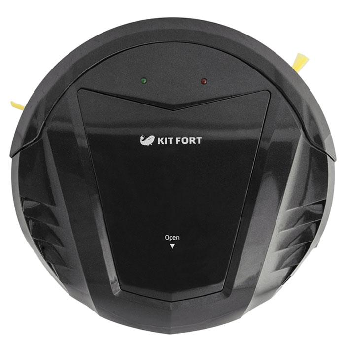 Kitfort KT-511-1, Black робот-пылесосKT-511-1 чёрныйМодель Kitfort КТ-511 создана для непритязательных пользователей, которым нужен простой и недорогой робот-пылесос, без лишних наворотов, который будет каждый день убираться в квартире и делать это качественно. Например, кому-то не нужен ограничитель действия виртуальная стена, идущий в комплекте с большинством пылесосов; многие не пользуются функцией уборки по графику, потому что гораздо удобнее вручную запустить пылесос в соседней комнате, чтобы он не мешал, или же перед уходом на работу. Ради удовлетворения такой потребности был создан робот-пылесос Kitfort KT-511. Он не имеет в комплекте базы для автоподзарядки, ограничителя виртуальная стена и пульта дистанционного управления. В комплекте идет лишь зарядное устройство и инструкция по использованию. У пылесоса нет дисплея и никаких кнопок. Благодаря этому пылесос прост в управлении и стоит недорого. Тем не менее, он обладает приятными особенностями, на которых стоит остановиться подробнее.Робот-пылесос Kitfort КТ-511 входит в семейство роботов-пылесосов без турбощетки. В классических моделях роботов-пылесосов турбощетка играет основную роль в уборке мусора, а блок мини-пылесоса имеет небольшую мощность и всасывает только мелкую пыль. Но на турбощетку в процессе уборки хорошо наматываются волосы, нитки и шерсть домашних животных, так что она требует регулярной и кропотливой очистки с помощью специальных инструментов, в противном случае эффективность уборки резко падает.В модели Kitfort КТ-511 турбощетка отсутствует вовсе, что упрощает обслуживание пылесоса, а сам пылесос обладает большой мощностью всасывания. Всасывающий раструб имеет увеличенные размеры и специальную форму для лучшего всасывания. Пылесос оснащен двумя боковыми щетками, а не одной, как у классических моделей, что увеличивает скорость и качество уборки. Ворс боковых щеток выступает за габариты пылесоса, что позволяет ему собирать пыль вдоль плинтусов, вдоль диванов, около дверных косяков и других 
