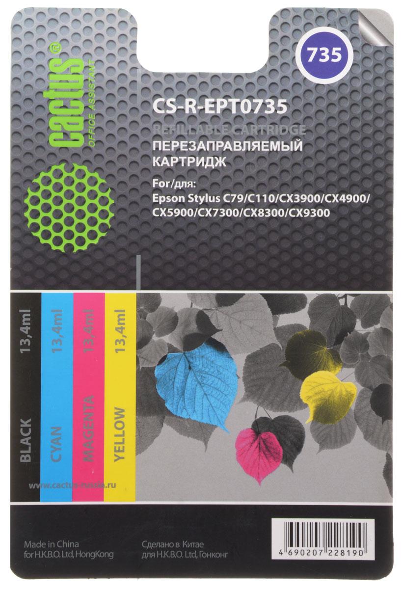 Cactus CS-R-EPT0735, Color комплект картриджей для Epson Stylus С79/C110/СХ3900CS-R-EPT0735Комплект перезаправляемых картриджей Cactus CS-R-EPT0735 предназначен специально для принтеров Epson Stylus С79/C110/СХ3900/CX4900/CX5900/CX7300.