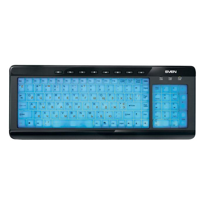 Sven Comfort 7200 EL клавиатураSV-03107200UBEМодель Sven Comfort 7200 EL оборудована светло-голубой подсветкой всей поверхности клавиш, которая оптимальна для работы в ночное время! Что ни говори, а светящаяся клавиатура – это не только стильно, но и полезно! Если работа затянулась далеко за полночь, а конца и края ей пока не видно, то, чтобы не тревожить окружающих, лучше обойтись без настольной лампы. Подсветки будет достаточно, чтобы чувствовать себя комфортно во время набора текста. К тому же, такая клавиатура – отличный ориентир в темной комнате: сразу разглядишь свое рабочее место.В Sven Comfort 7200 EL предусмотрены клавиши быстрого вызова офисных и интернет-приложений. С их помощью можно запускать интернет-браузер или электронную почту, воспроизводить звуковой контент и т. д. Сама клавиатура имеет компактные размеры за счет двухблочной конструкции.Модель оснащена USB-интерфейсом. Инсталляция устройства производится автоматически после его подключения к ПК.