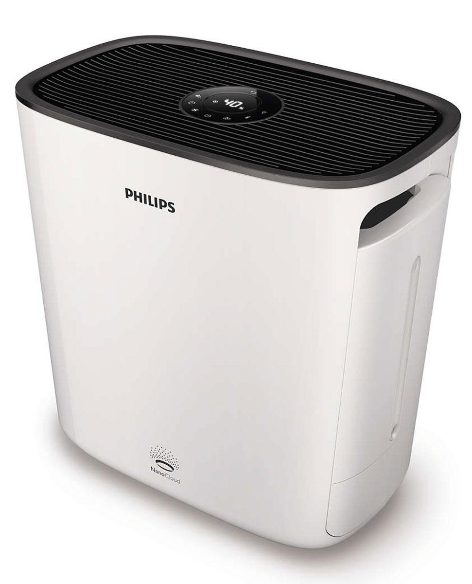 Philips HU5930/10 NanoClean, White мойка воздухаHU5930/10Дышите чистым воздухом благодаря Philips NanoClean. Эффективная технология увлажнения NanoCloud и очищение на наноуровне с помощью фильтра Nano Protect предотвращают развитие симптомов аллергии, делая воздух более здоровым и свежим.Превосходное увлажнение благодаря технологии NanoCloud:Гигиеничность и безопасность технологии Philips NanoCloud подтверждена сертификатом. Доказанная эффективность: на 99 % меньше бактерий в воздухе по сравнению с ультразвуковыми увлажнителями. Эта технология защищает ваше здоровье в долгосрочной перспективе, обеспечивая чистый воздух, практически полностью очищенный от патогенных организмов и плесени. Невидимые частицы мелкодисперсного водяного пара, создаваемые технологией Philips NanoCloud, не оставляют белой пыли и мокрых пятен. Высокая эффективность увлажнения до 500 мл/ч.4 точные настройки уровня увлажнения:Технология Philips NanoCloud сделает воздух в доме, офисе и любом другом помещении свежим и здоровым, так как с ее помощью постоянно поддерживается оптимальный уровень постоянной и даже относительной влажности — от 40 % до 60 %. Настройки увлажнения (40 %, 50 %, 60 % и непрерывное увлажнение) обеспечивают широкий выбор возможностей и позволяют автоматически контролировать уровень влажности в помещении в соответствии с потребностями. При оптимальном уровне влажности воздух становится более свежим, а также снижается риск возникновения заболеваний, вызванных сухостью воздуха.4 режима работы вентилятора:4 различных режима позволяют с легкостью выбрать желаемую скорость вентилятора: скорость 1, скорость 2, скорость 3 и автоматический режимФильтр Nano Protect для защиты на наноуровне эффективно удаляет частицы размером 0,02 мкм:Фильтр Nano Protect с защитой на наноуровне эффективно удаляет 99 % бактерий и удерживает мельчайшие загрязнения размером до 0,02 мкм, в том числе мелкую пыль, пыльцу и бактерии. Поверхность фильтра для частиц раскрывается до 1,17 м2 для высокоэффективной