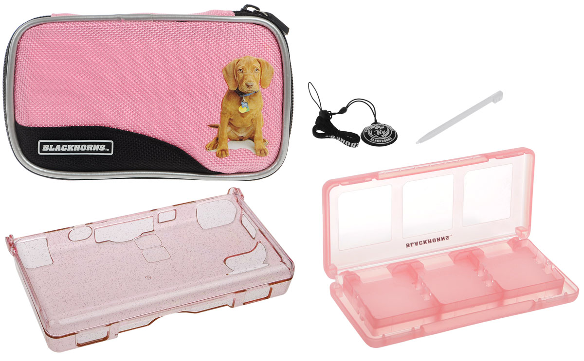 Набор 6 в 1 для приставки DS Lite, цвет: розовыйBH-DSL09612_розовыйНабор аксессуаров для приставки DS Lite. Особенности комплекта: Стильный белый чехол с изображением щенка. Надежно защитит Вашу DS Lite от ударов, царапин, и других повреждений. Выполнен из нейлона. Удобная и прочная молния с застежкой. Съемный карабин позволит надежно закрепить чехол на рюкзаке, сумке или ремне. Защитный пластиковыйпрозрачный корпус с блестками сделан из прочного поликарбонатного материала и обеспечивает защиту Вашей Nintendo DS Lite от царапин и сколов. Футляр для картриджей включает 6 слотов для хранения игровых картриджей.Ремешок на руку защитит Вашу приставку от падений.С очищающей подушечкой экран Вашей приставки всегда будет оставаться чистым.