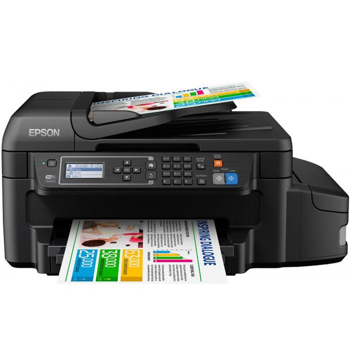 Epson L655 МФУC11CE71403Epson L655 — это первая Фабрика печати Epson с функцией автоматической двусторонней печати, цветнымиводорастворимыми и черными пигментными чернилами и фронтальным лотком для загрузки бумаги. Такимобразом, данное устройство сочетает в себе все требования, которые предъявляли бизнес - пользователи кФабрике печати. Приобретя это устройство, вы получите не только рекордную экономичность, но и широкийфункционал, а также высококачественную печать текса, как на лазерном принтере.Струйная печать без картриджей:Особенность всех устройств Фабрики печати Epson – это печать без картриджей. Вместо картриджей в EpsonL655 использует специальные емкости, из которых чернила поступают в печатающую головку черезспециальные тракты. При этом уникальное строение емкостей и трактов гарантирует высокое качество печатии надежность работы устройства даже без использования картриджей.Возможность печати до 3-х лет без замены расходных материалов:Расходными материалами к Epson L655 служат контейнеры с чернилами высоким ресурсом. Так четырехконтейнеров с голубыми, пурпурными, желтыми и черными чернилами хватит на печать 6500 цветных и 6000 ч/бдокументов, то есть при средней нагрузке в 300 страниц в месяц одного набора чернил вам хватит почти на 3года печати без необходимости закупки расходных материалов!Двойной набор чернил в комплекте поставки:Комплект поставки для Epson L655 включает в себя два набора контейнеров с чернилами Epson, таким образом,приобретая данное устройство, пользователь получает сразу 8 контейнеров с чернилами - по 2 контейнеракаждого цвета (голубой, пурпурный, желтый, черный). За счет этого со стартового набора можно распечататьдо 11000 цветных и 11000 ч/б документов.Экономьте бумагу и деньги благодаря функции автоматической двусторонней печати:Благодаря функции автоматической двусторонней печати формата, вы можете печатать с двух сторон листа,что снизит ваши расходы на бумагу.Фронтальный лоток для загрузки бумаги:Дополнительным преимуществом Epson L6