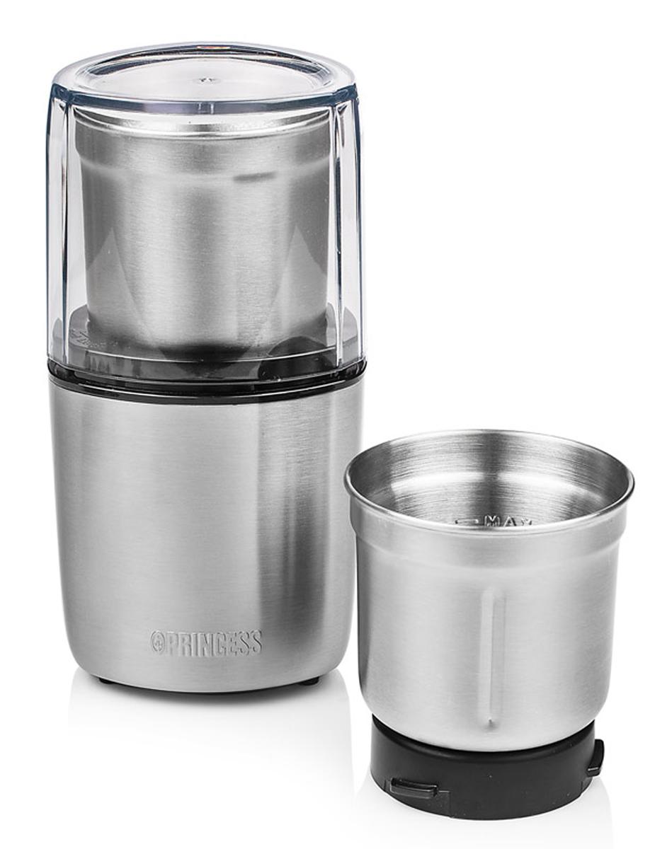 Princess 221040, Silver кофемолка221040Princess 221040 - кофемолка и измельчитель в корпусе из нержавеющей стали. Две съёмные чаши для сухих (орехи, кофе) и влажных (томаты, зелень) продуктов в комплекте. Легко разбирается для чистки. Допускается мойка чаш в посудомоечной машине.Чаша из нержавеющей стали с 4 лезвиямиЧаша из нержавеющей стали с 2 лезвиямиНожи из нержавеющей сталиКрышка со смотровым окном