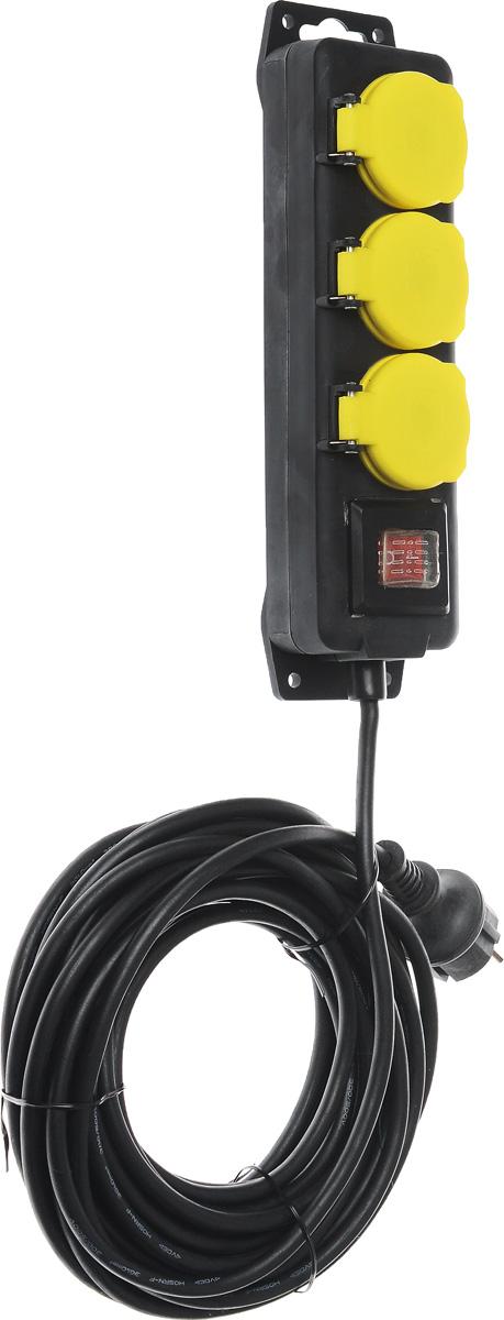 Удлинитель садовый ЭРА U-3es-10m-IP44, влагозащищенный, 3 гнезда, 10 мU-3es-10m-IP44Садовый удлинитель ЭРА U-3es-10m-IP44 позволяет подключить несколько потребителей к одной электрической розетке. За счет большой длины кабеля незаменим на садовом участке, при проведении строительных и ремонтных работ. Силовой удлинитель имеет степень защиты IP44 и снабжен защитными шторками и защитными крышками, закрывающими электрические контакты от попадания пыли и влаги. 3 медные жилы сечением 1 мм2 обеспечивают допустимую максимальную мощность нагрузки в 2300 Вт. Сечение жилы провода является ключевым элементом качества силового удлинителя. Резиновая изоляция (неопрен) провода позволяет эксплуатировать удлинитель в широком диапазоне температур от -25°С до +60°С. Корпус выполнен из полипропилена и поликарбоната - устойчив к механическим повреждениям, царапинам, соответствует требованиям пожаробезопасности. Выключатель позволяет выключить все приборы, подключенные к удлинителю, не вынимая вилки из розетки. Технические характеристики: Сечение провода: 3х1 мм2. Номинальное напряжение: 230В / 50 Гц. Сила тока/мощность максимальная в размотанном виде: 10А / 2300 Вт. Наличие заземляющего контакта: да. Температурный режим эксплуатации стационарно: от -40°С до +60°С. Температурный режим эксплуатации подвижно: от -25°С до +60°С. Материал корпуса: пластик (полипропилен, поликарбонат).