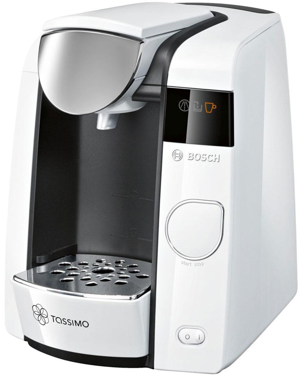 Bosch Tassimo Joy TAS4504, White капсульная кофемашинаTAS4504Bosch Tassimo Joy TAS4504 – это стильная деталь интерьера для любого дома. Но она прекрасна не только снаружи. За изящным и элегантным внешним видом скрывается современная технология Intellibrew, делающая каждую чашку напитка идеальной.В дополнение к стандартным характеристикам кофемашин Tassimo, Bosch Tassimo Joy TAS4504 предлагает передовую систему фильтрации воды и настройки для регулирования крепости, которые обеспечивают максимальное удовольствие от напитков. Кофемашина Tassimo считывает штрих-код, нанесенный на каждую капсулу (Т-диск), и автоматически определяет точную информацию для приготовления идеального напитка: количество воды, время заваривания, температура.Несмотря на компактный размер, Bosch Tassimo Joy TAS4504 поражает размером своего резервуара для воды. Теперь нет необходимости доливать воду после каждой чашки напитка. Если вы обожаете хороший кофе, ароматный чай или лучший горячий шоколад, если вы цените красоту и любите пробовать новые вкусы, значит, Bosch Tassimo Joy TAS4504 создана именно для вас.