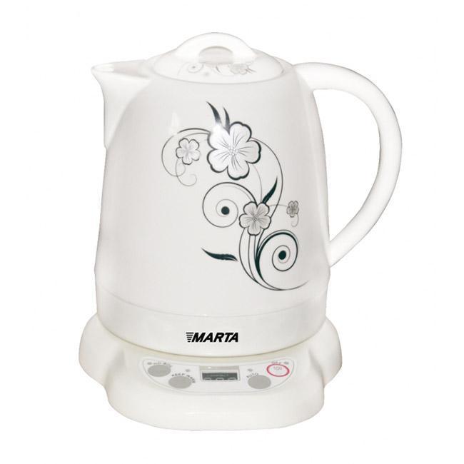 Marta MT-1046, White электрический чайникMT-1046Многофункциональный керамический чайник с росписью на белом фоне украсит любую кухню. Природный, экологически чистый материал корпуса служит для сохранения всех натуральных свойств воды. Корпус из экологически чистой керамики. Керамика - исключительно термостойкий, экологически чистый материал, сохраняющий все натуральные свойства воды и ее природный вкус.Благодаря толстым стенкам чайник из такого материала долго сохраняет тепло, обеспечивая отличную энергоэффективность.3 режима работы кипячение, режим поддержания температуры 55-65°С, автоматический режим повторного кипячения. Вода дольше остается горячей, теплая вода всегда под рукой. Это особенно важно, например, для быстрого приготовления детского питания.Функция поддержания температурыЭнергосберегающий режим позволяет не включать чайник несколько раз подряд, а автоматически поддерживать требуемую температуру. Теплая вода нужной температуры всегда под рукой.LCD дисплейС помощью цифрового дисплея очень легко и удобно контролировать режимы работы чайника и при необходимости изменять их.Закрытый нагревательный элементПлоское дно внутри чайника очень функционально - легко моется, противостоит накипи, не ржавеет, не корродирует, а значит, обеспечивает максимально долгий срок службы чайника.Возможность вращения чайника на 360°Крайне важная и быстро ставшая привычной функция, обеспечивающая исключительное удобство и безопасность на любой кухне. Чайник можно снимать и ставить на базу с любой стороны без каких-либо усилий и риска обжечься.Многоуровневая защита Автоматическое отключение при закипании или недостаточном количестве воды обезопасит чайник от преждевременного выхода из строя.Вы сможете доверить управление чайником даже ребенку.Низкий уровень шумаЧайник обладающий повышенной комфортностью использования.Специальная технология позволяет добиться очень низкого уровня шума по сравнению с другими чайниками.