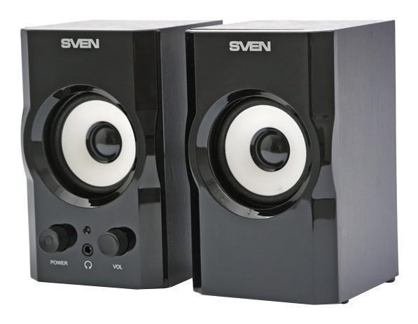 Sven SPS-605, Black акустическая система 2.0SV-0120605BLГлянцевая поверхность модели не только радует глаз, но и превосходно сочетается с большинством современных плоскопанельных мониторов. Белые динамики акустической системы в контрасте с черным корпусом создают стильный законченный образ. Такие колонки не только хорошо впишутся в интерьер офиса, но и будут прекрасно смотреться в домашней обстановке.SVEN SPS-605 обладает также рядом практических и технических преимуществ: регулятор уровня громкости, выключатель питания и выход на наушники расположены на передней панели корпуса, что делает процесс управления легким и удобным. На задней стенке расположены разъемы для подключения различных источников аудиосигнала: ПК, DVD/CD/MP3-плееров. Но самое приятное, что при всех своих достоинствах, новинка не пробьет брешь даже в самом скромном бюджете – это первая цена в линейке акустики 2.0 TM SVEN. Качество за небольшие деньги – это возможно!