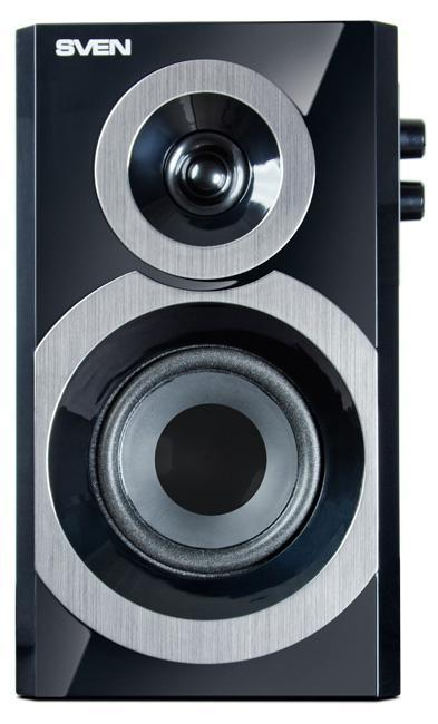 Sven SPS-619, Black акустическая система 2.0SV-011277Игрушечные машинки, собачки, ангелочки, медвежата. Что общего между этими словами? Оказывается, все вышеперечисленное – это модели акустических колонок для ПК и ноутбуков. Яркие образы превращают устройства в необычное решение для рабочего стола, однако звук в подобных устройствах оставляет желать лучшего. Когда «плюшевое» звучание надоедает, с ностальгией вспоминаешь о классике: прямоугольных формах, деревянных корпусах и двухполосных колонках.Компания SVEN представила продолжение дизайнерского решения мультимедийной акустической системы SVEN MS-1090 – SVEN SPS-619. Лайт-версия – это компактная акустика с удобной панелью управления на боковой стенке активной колонки. Выполненная в духе минимализма, модель сочетает в себе функциональность, прекрасные технические характеристики и стильный дизайн.SVEN SPS-619 можно отнести к классическому решению акустических систем, воплотившему в себе все самое необходимое для озвучивания фильмов, компьютерных игр и прослушивания музыкальных треков на ПК. Компактный размер позволяет колонкам без стеснения для пользователя расположиться на рабочем столе рядом с монитором. Черная глянцевая поверхность и серебристые элементы (декорированные под металл) на передних панелях гармонично сочетаются с дизайном современных мониторов. Отдельный высокочастотный излучатель очень чисто воспроизводит все оттенки вокала, струнных инструментов, перкуссии, при этом регулятор тембра позволяет корректировать насыщенность высоких частот, делая звук более детальным.Стоит отметить, что корпуса колонок изготовлены из дерева (MDF). Это позволяет погасить различные звуковые искажения, связанные с физическими законами распространения звуковой волны в замкнутом пространстве. В итоге, звук становится чище и натуральнее.Для удобства панель управления вынесена на боковую стенку активной колонки. На ней расположены регуляторы уровня громкости системы, а также тембра ВЧ. Учитывая компьютерную направленность акуст