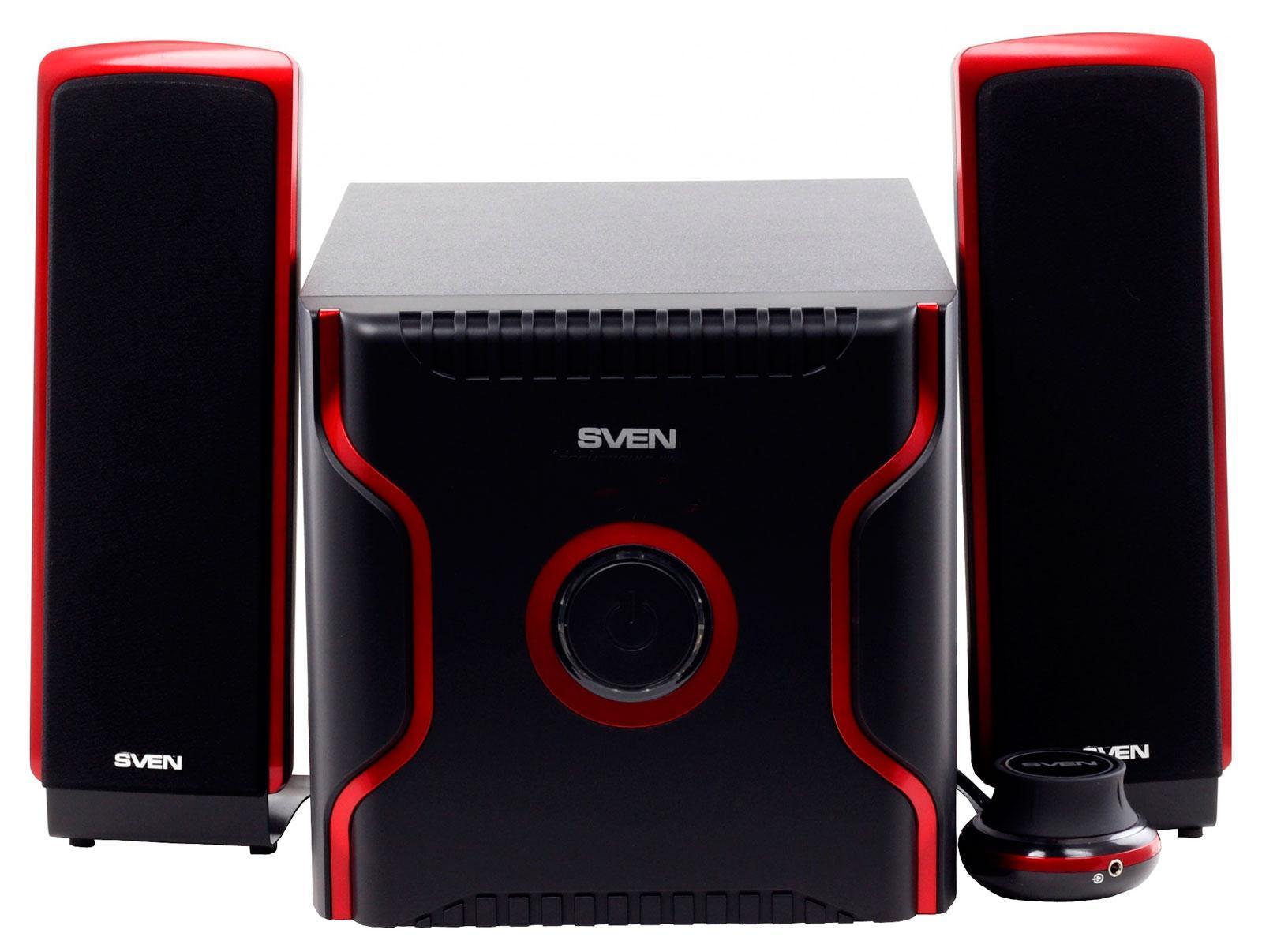 Sven MS-1040, Black акустическая система 2.1 с сабвуферомSV-01301040BKКроме стандартных регулировок, на выносном пульте естьдополнительный вход, к которому можно подключить МР3-плеер или другойисточник звука. Сателлиты системы выполнены в двухполосном варианте,что позволяет расширить диапазон воспроизведения и получитьдетальную проработку любого звукового материала.Космическая внешностьмодели SVEN MS-1040 и очень необычный пульт ДУ создают антуражмежгалактического общения, где звук – лишь средство коммуникации.Поистине, это еще один эпизод «Звездных войн» на собственномстоле