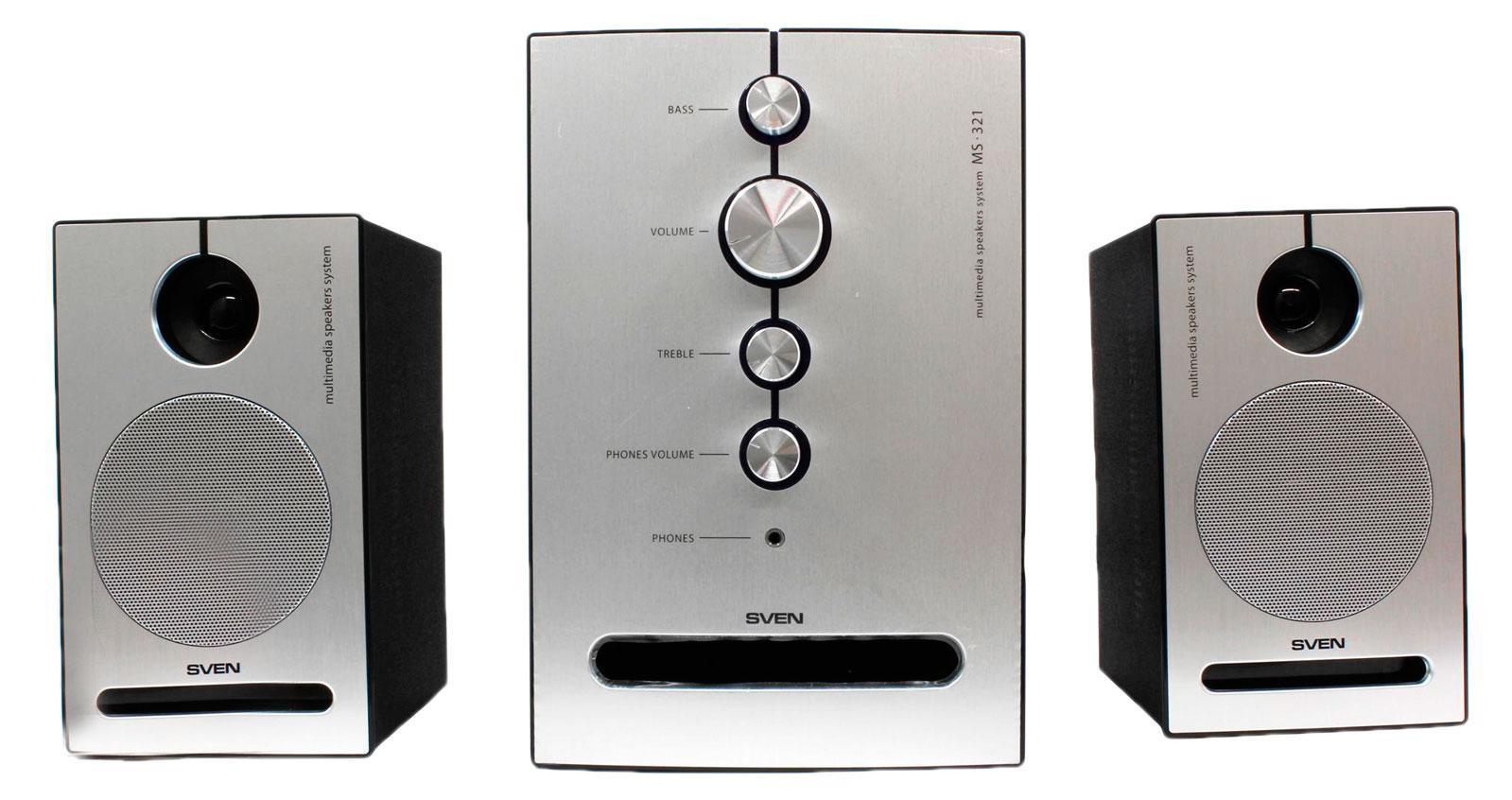 Sven MS-321, Black акустическая система 2.1 с сабвуферомSV-0130321BKСистема подходит для воспроизведения музыки, озвучивания игр, фильмов на ПК или ноутбуке. Однако суммарной мощности в 41 Вт хватит и для того, чтобы создать свой музыкальный центр, подключив комплект к DVD- или MP3-плееру.Передние панели сателлитов и сабвуфера выполнены из алюминия. При включении акустики элементы управления эффектно подсвечиваются светло-фиолетовым цветом. Необычный дизайн SVEN MS-321 настолько притягивает, что после покупки многим захочется поставить ее на видное место.Модель передает звуковую сцену во всех нюансах. Благодаря технологии акустического оформления «bandpass», а также щелевой конструкции фазоинвертора, у системы глубокий плотный бас. Чистое детальное звучание на высоких частотах обеспечивают двухполосные сателлиты.Управление акустикой очень простое и наглядное. На лицевой стороне сабвуфера расположено несколько регуляторов. С их помощью можно настроить уровень общей громкости системы, громкости наушников, а также отрегулировать уровень высоких и низких частот. Для индивидуального прослушивания музыки в модели предусмотрен разъем на наушники, который находится также на панели управления. Конструкция корпуса сателлитов позволяет крепить их на стену. Такая возможность придется по вкусу тем, кто ценит свободное пространство на рабочем месте.