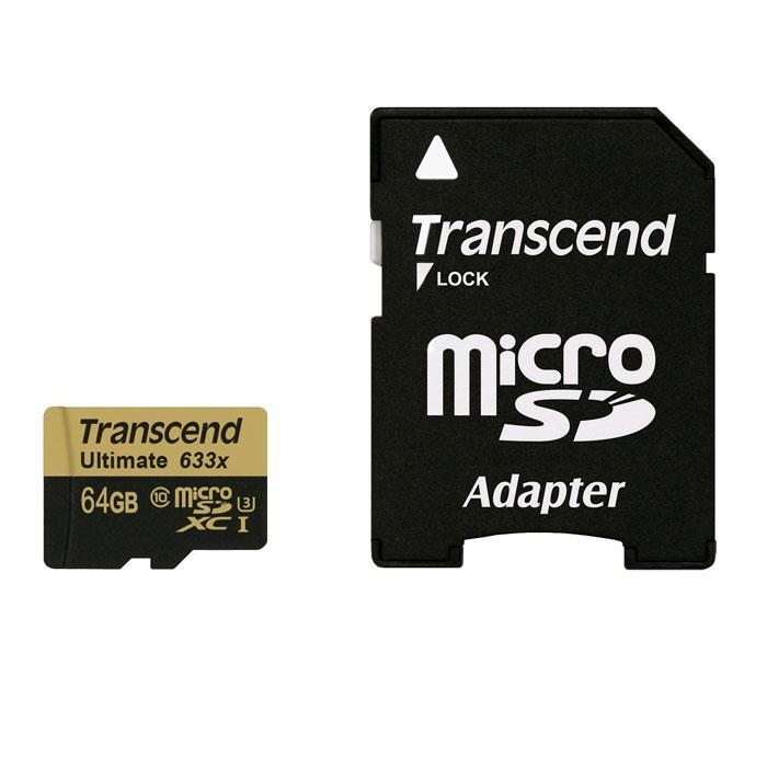 Transcend Ultimate microSDXC Class 10 UHS-I U3 633x 64GB карта памятиTS64GUSDU3MicroSD-карты памяти Transcend SDHC UHS-I Speed Class 3 (U3) 633x отличаются высокой производительностью и емкостью и способны с легкостью справиться с потоками данных, генерируемыми смартфонами, планшетами, цифровыми фото- и видеокамерами, совместимыми со стандартом UHS-I. Благодаря рекордным показателям скорости записи и чтения, которые составляют, соответственно, 95 и 85 МБ/с, эти носители позволяют записывать видео сверхвысокого разрешения в 4K и 3D-формате, а также существенно экономить время при переписывании больших файлов на компьютер. Кроме того, используемые в этих картах микросхемы флэш-памяти типа MLC NAND отличаются долговечностью и высокой надежностью.