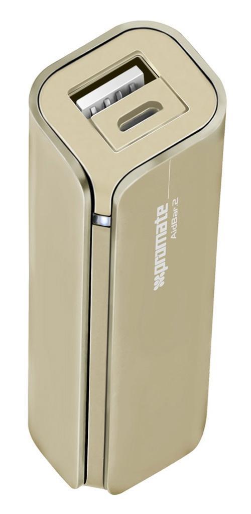 Promate aidBar-2, Gold внешний аккумулятор00007811Больше не переживайте, что у Вас разрядится мобильный телефон, пока Вы в пути. AirBar-2 - портативный аккумулятор для подзарядки емкостью 2500 mAh призван обеспечить Вас дополнительной энергией в любое время, когда Вам это надо. Подходит для использования с любыми мобильными телефонами и гаджетами. Функция автозапуска гарантирует, что прибор выключится и включится при соединении с устройством, которое надо зарядить.