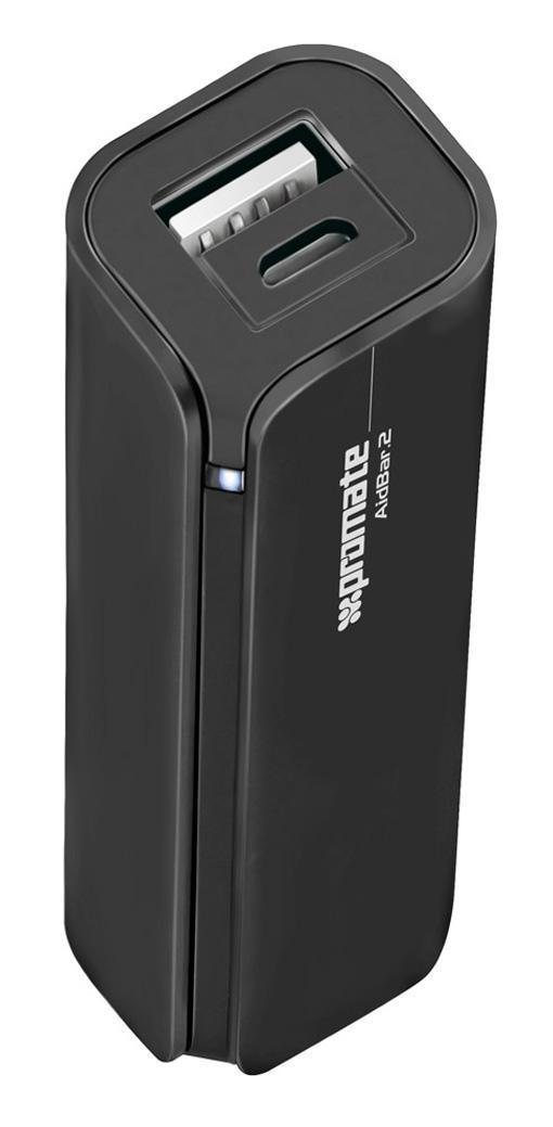 Promate aidBar-2, Black внешний аккумулятор00007474Больше не переживайте, что у Вас разрядится мобильный телефон, пока Вы в пути. AirBar-2 - портативный аккумулятор для подзарядки емкостью 2500 mAh призван обеспечить Вас дополнительной энергией в любое время, когда Вам это надо. Подходит для использования с любыми мобильными телефонами и гаджетами. Функция автозапуска гарантирует, что прибор выключится и включится при соединении с устройством, которое надо зарядить.