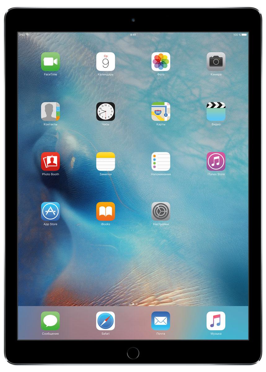 Apple iPad Pro Wi-Fi 128GB, Space GrayML0N2RU/AС Apple iPad Pro мир ваших увлечений станет ещё обширнее. Он оснащён потрясающим 12,9-дюймовым дисплеем Retina и улучшенной технологией Multi-Touch, а его производительность почти в два раза превосходит iPad Air 2. Новый iPad Pro не просто больше - с ним вы получите возможность работать и творить в совершенно иных масштабах.Дисплей Retina с диагональю 12,9 на iPad Pro - самый совершенный из всех. Он на 78% больше, чем у iPad Air 2, а под его стеклом уместились обновлённая подсистема Multi-Touch и самое высокое разрешение среди всех устройств iOS - 5,6 миллиона пикселей. Его потрясающая чёткость и впечатляющие цвета, включая насыщенный чёрный, делают любое занятие, от обработки фотографий до игр со сложной графикой, невероятно увлекательным.В корпус данной модели встроено четыре передовых динамика, которые обеспечивают живой и объёмный звук. И впервые отсеки для них вырезаны прямо в корпусе unibody. Благодаря новой архитектуре динамики получили на 61% больше места, что расширило диапазон частот и втрое повысило их мощность по сравнению с предыдущими моделями iPad.Динамики в iPad Pro - это не только качественный звук, но и умная технология. Все они воспроизводят звук низких частот, а верхние - ещё и высоких. Кроме того, динамики автоматически распознают вертикальное или горизонтальное положение устройства. Как ни крути, iPad Pro всегда гарантирует живое и сбалансированное звучание.Smart Connector - новый элемент интерфейса, который использует проводящий материал Smart Keyboard для передачи сигнала в обоих направлениях. Он обеспечивает питание клавиатуры Smart Keyboard (продается отдельно) от iPad Pro и передаёт импульс от клавиш обратно на iPad Pro. Пользоваться разъёмом Smart Connector проще простого. Вставьте iPad Pro в Smart Keyboard - так же, как в чехол Smart Cover - и начинайте работать.Производительность процессора A9X в 1,8 раза выше, чем у iPad Air 2, а скорость его работы и отклика просто поражает. iPad Pro реаг