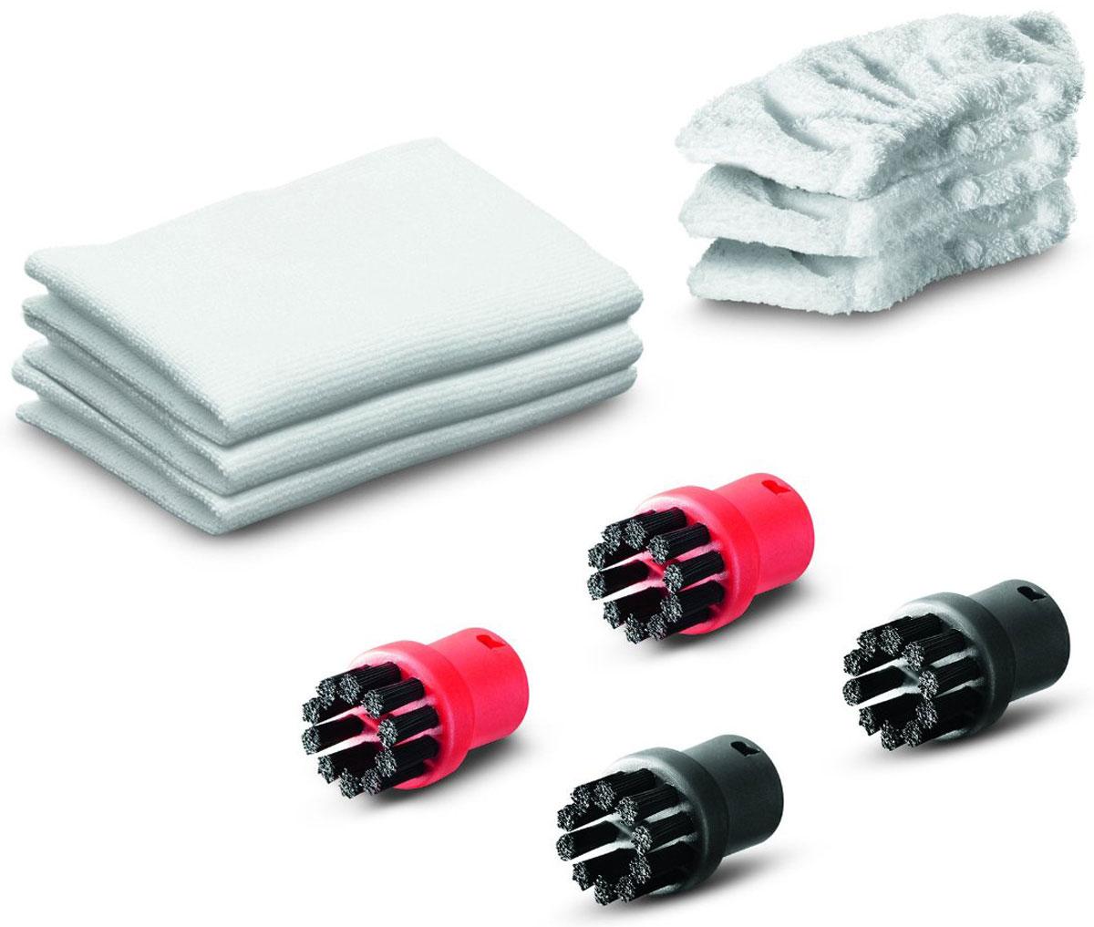 Karcher 28632150 набор аксессуаров для пароочистителя28632150Комплект Karcher состоит из трех хлопковых салфеток для пола, трех салфеток для ручной насадки, двух красных и двух черных круглых щеток. Подходит для пароочистителей.