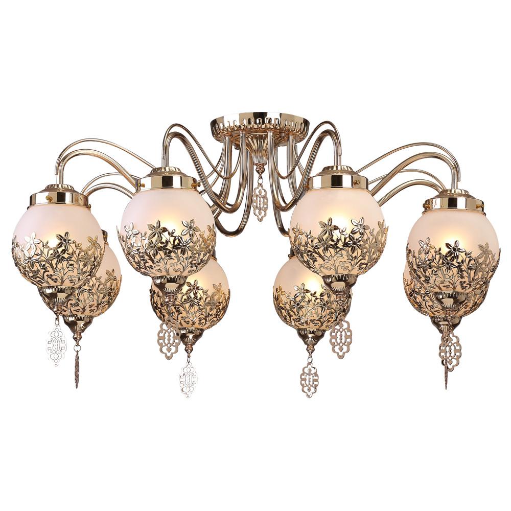 Светильник потолочный Arte Lamp Moroccana. A4552PL-8GOA4552PL-8GOПотолочный светильник Arte Lamp Moroccana поможет создать в вашем доме атмосферу уюта и комфорта. Благодаря высококачественным материалам он практичен в использовании и отлично работает на протяжении долгого периода времени. Шикарная люстра в стиле этно содержит восемь плафонов из матового стекла в обрамлении цветков из металла. Плафоны направлены вниз. Лампы: Е14; 8x40 W. Диаметр люстры: 75 см. Пылевлагозащита IP20. Класс электрозащиты: I.